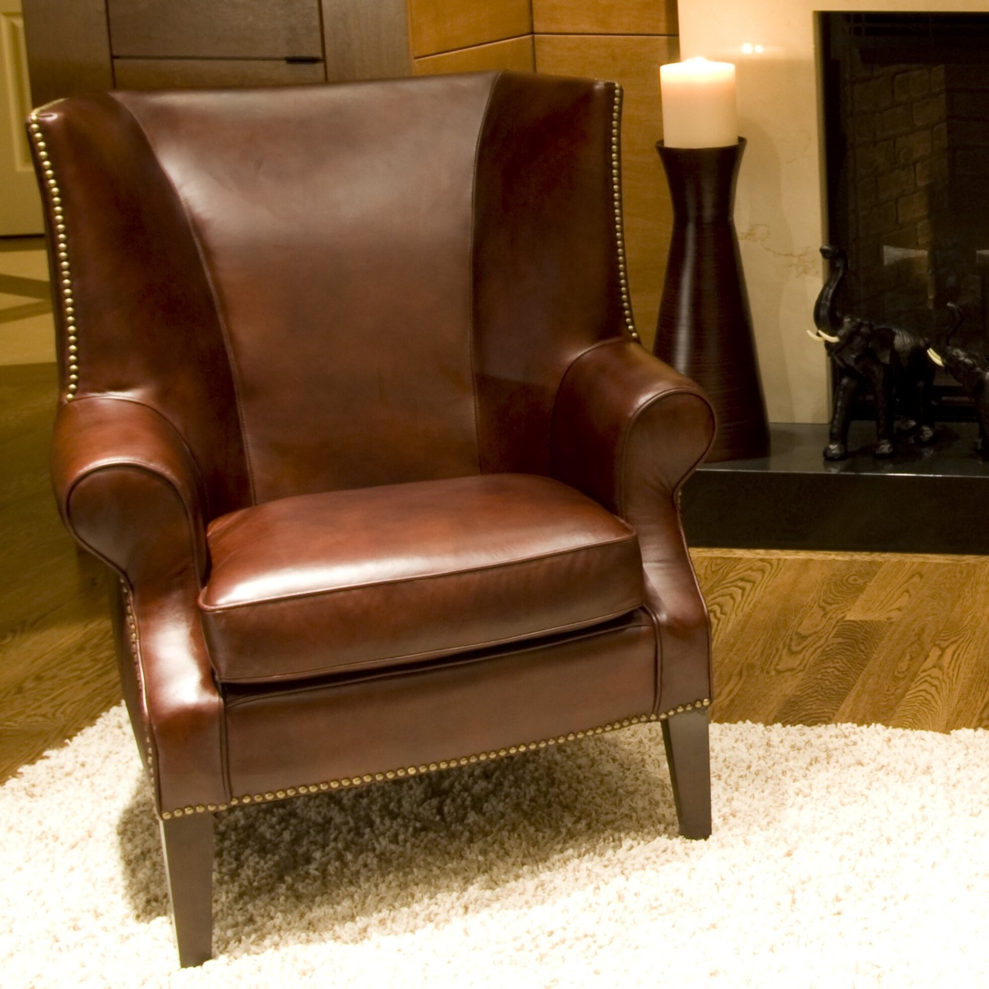 elements fine home furnishings camden top grain leather chair reviews wayfair. Black Bedroom Furniture Sets. Home Design Ideas
