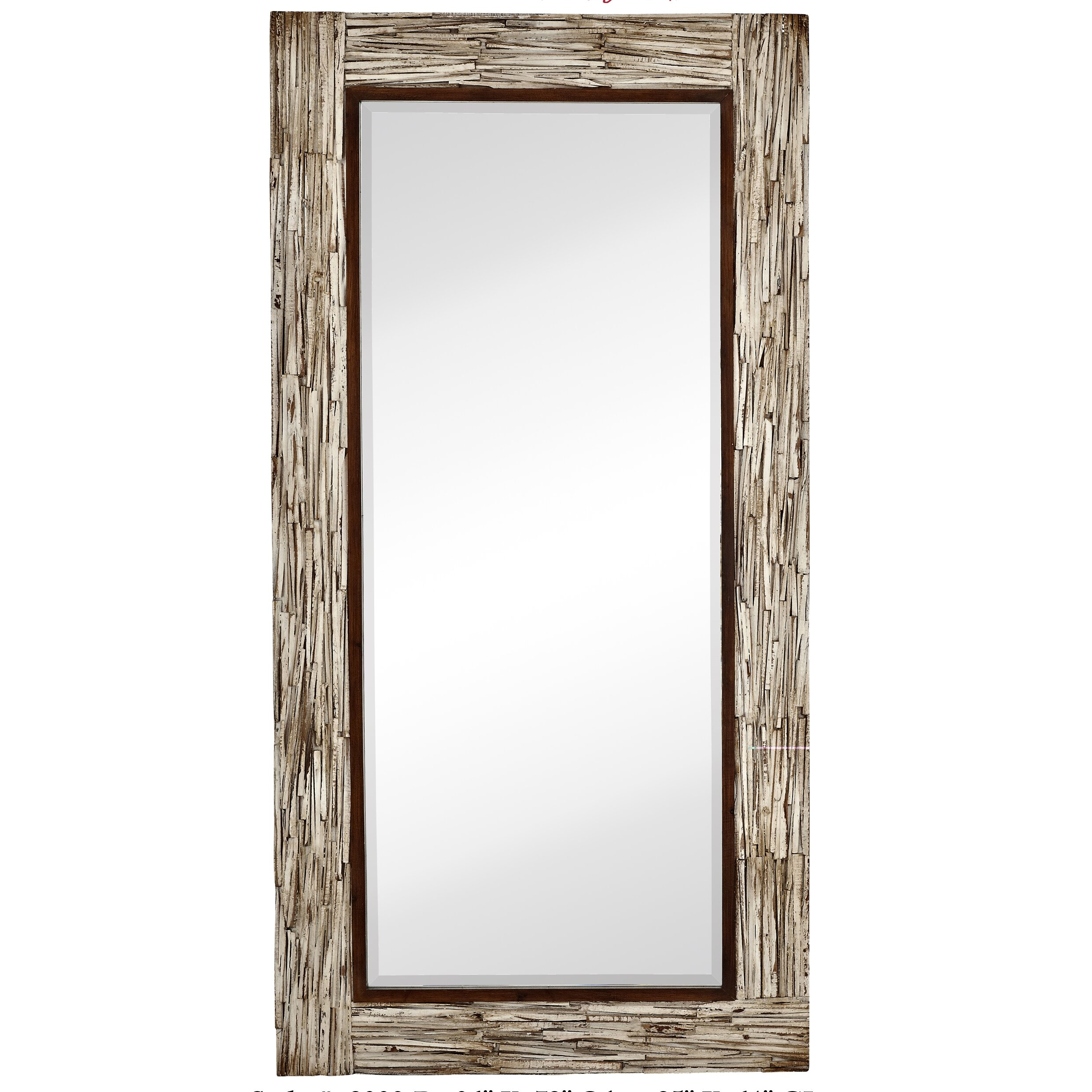 Majestic Mirror Large Rectangular White Washed Wood Framed