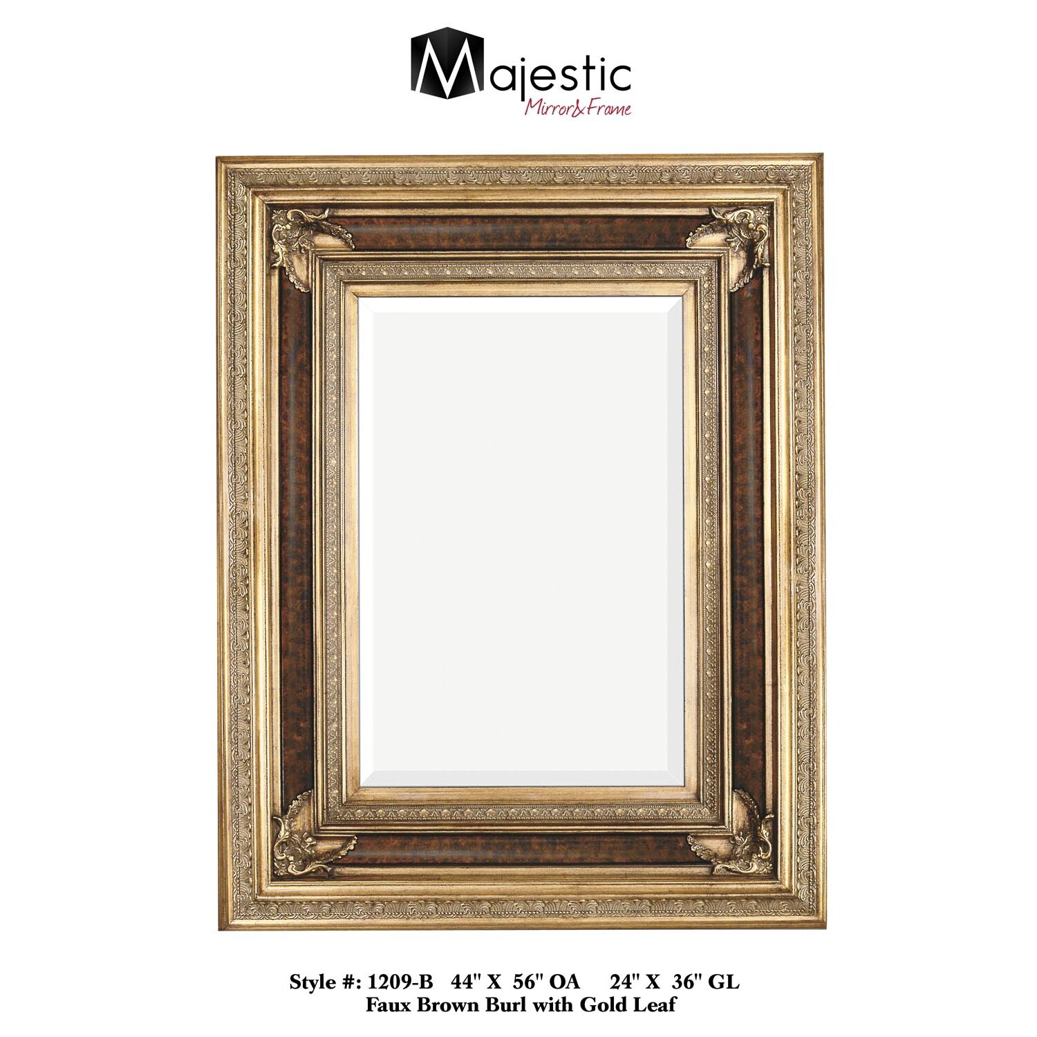 Majestic mirror rectangular antique wood framed for Glass mirrors for walls