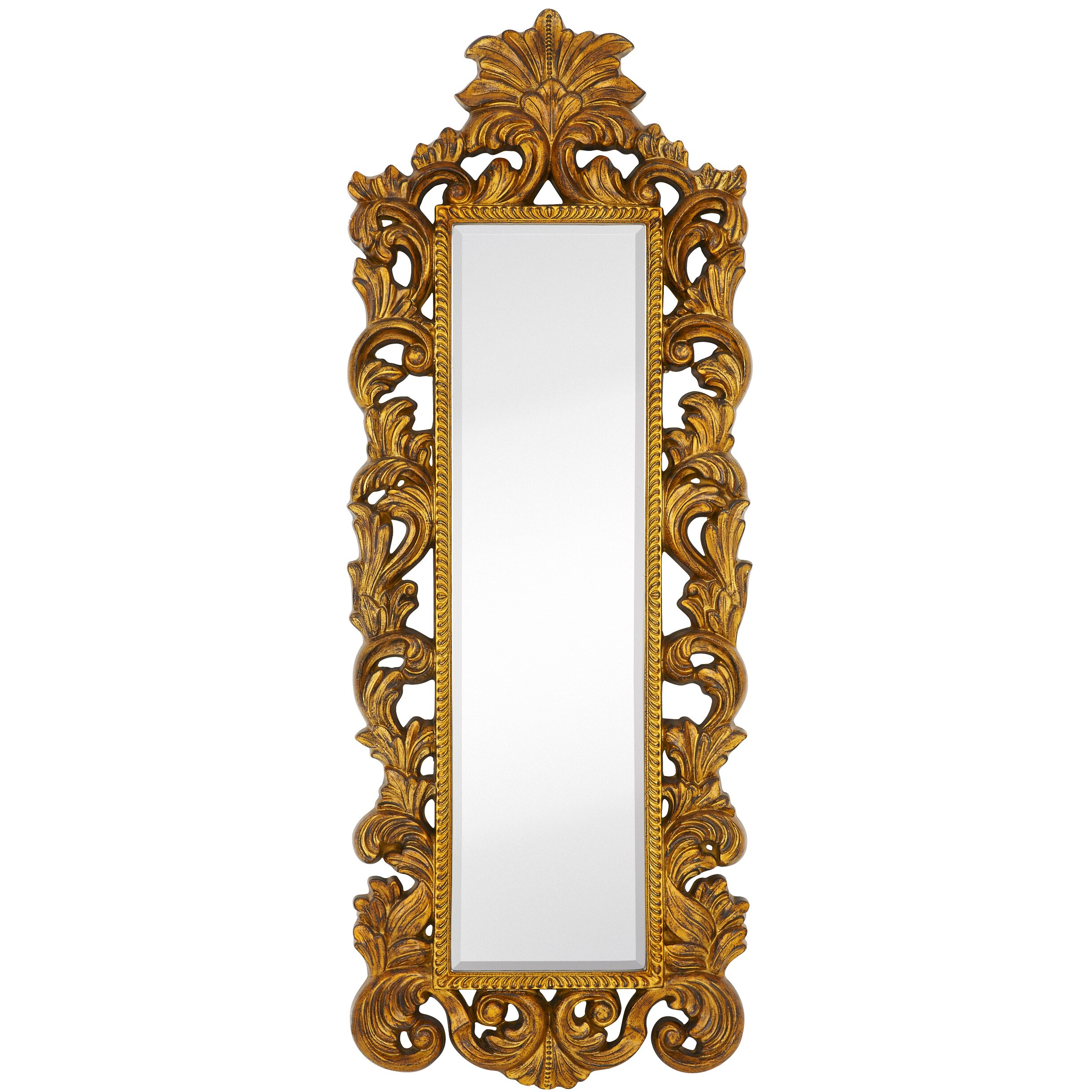 Majestic mirror tall narrow mirror leaf with black rub for Narrow wall mirror decorative