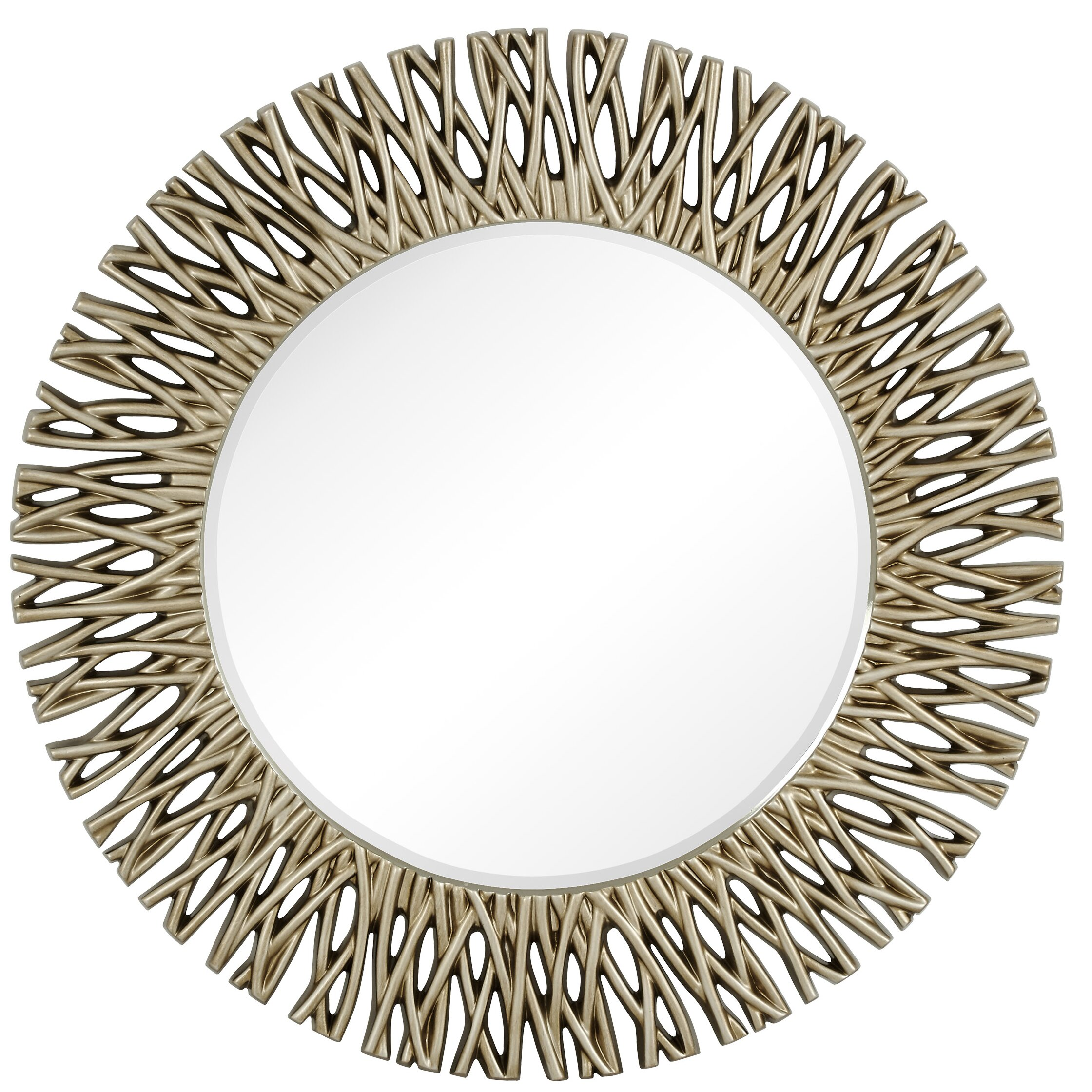Majestic mirror large round antique silver decorative for Large silver decorative mirrors