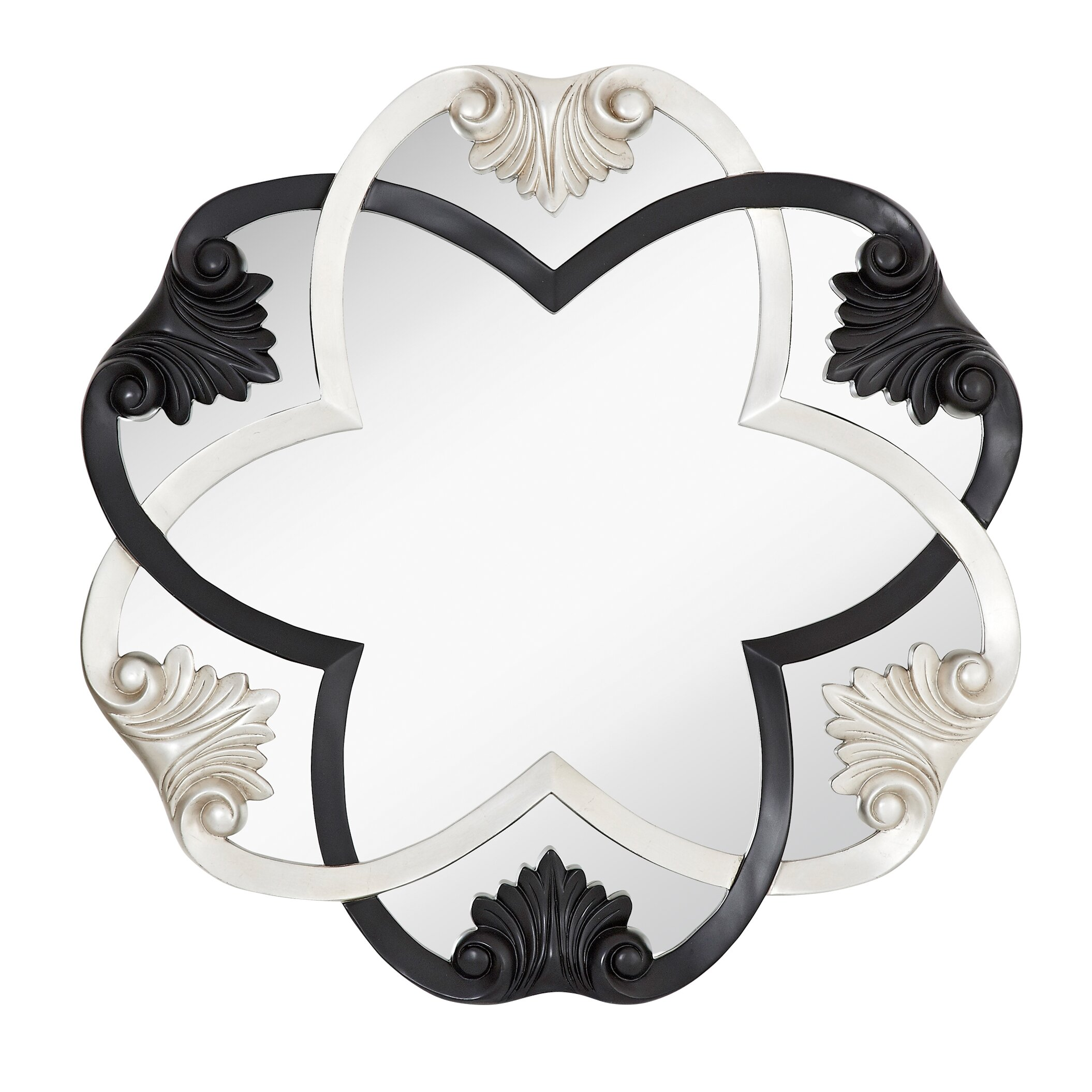 Silver Leaf Decoration Majestic Mirror Glamourous Black And Silver Leaf Circular