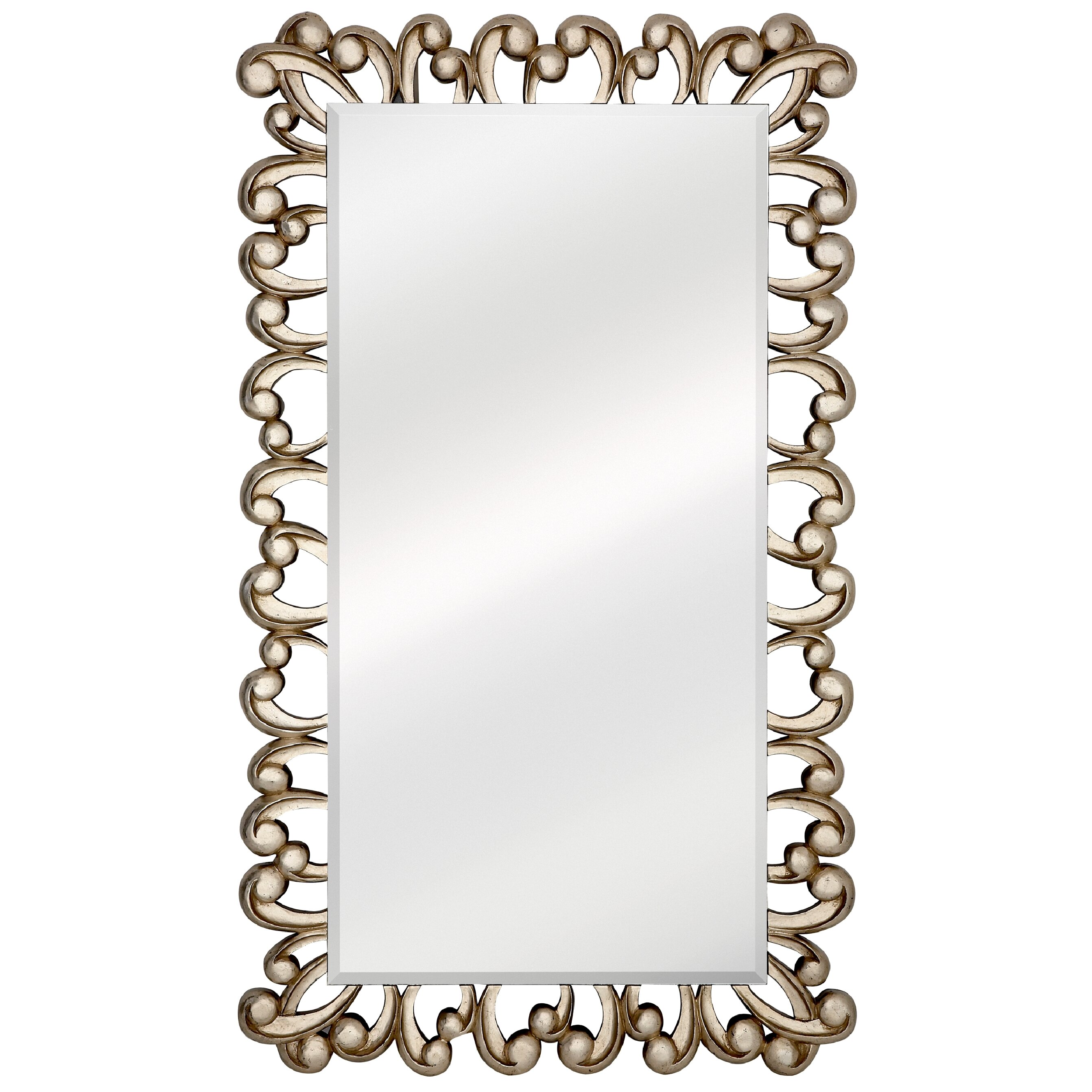 Majestic mirror large stylish silver rectangular beveled for Large silver decorative mirrors