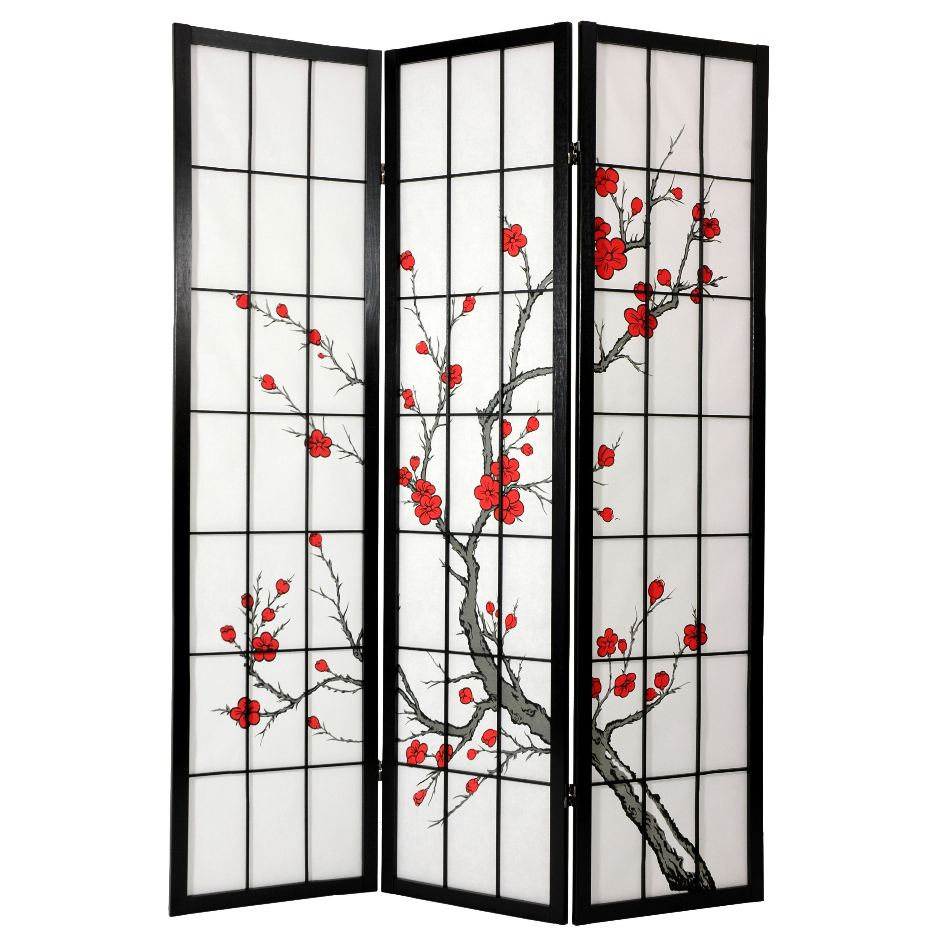 Oriental furniture 72 x 42 cherry blossom decorative 3 for Wall screen room divider