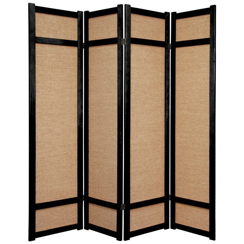 Oriental furniture 71 x 56 jute shoji 4 panel room divider reviews wayfair - Collapsible room divider ...