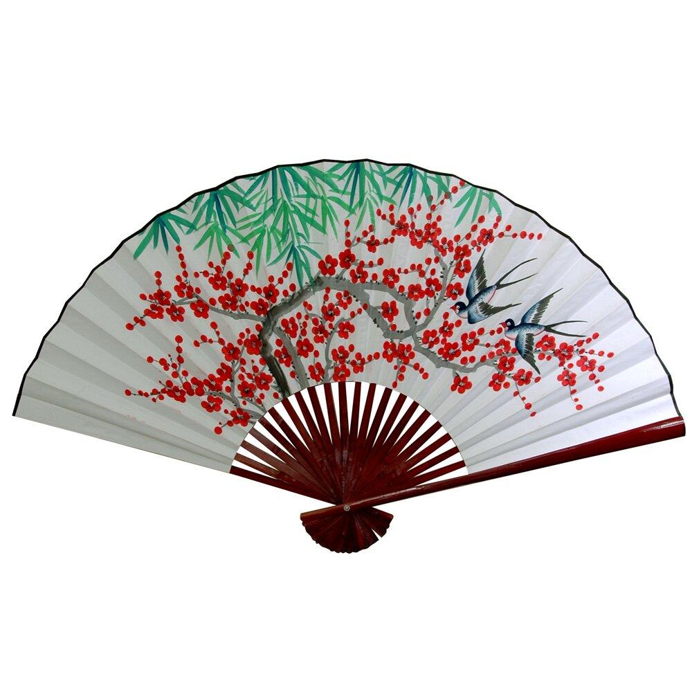 Oriental furniture cherry blossom fan wall d cor reviews wayfair - Wall fans decorative ...