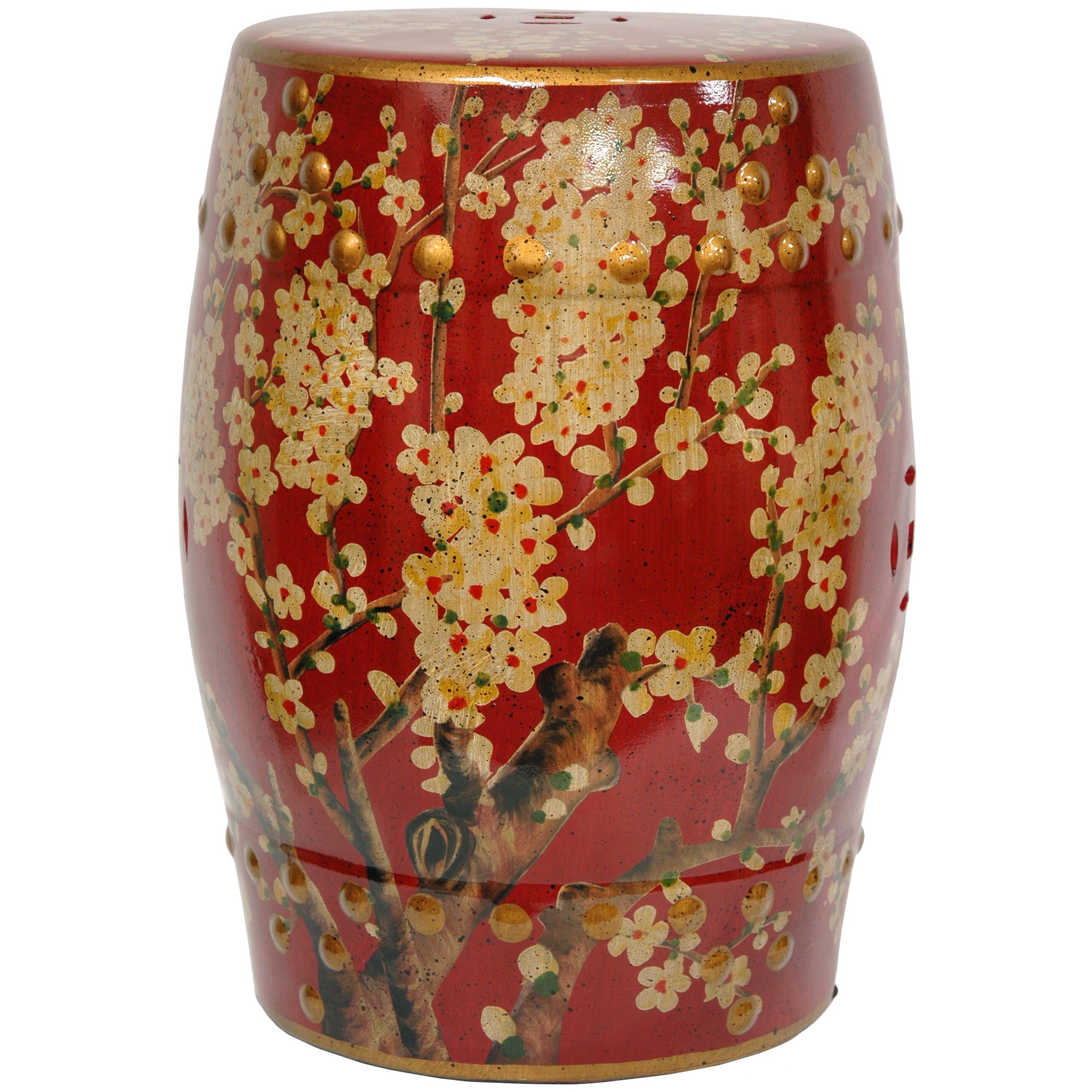 Oriental Furniture Sakura Blossom Oriental Garden Stool