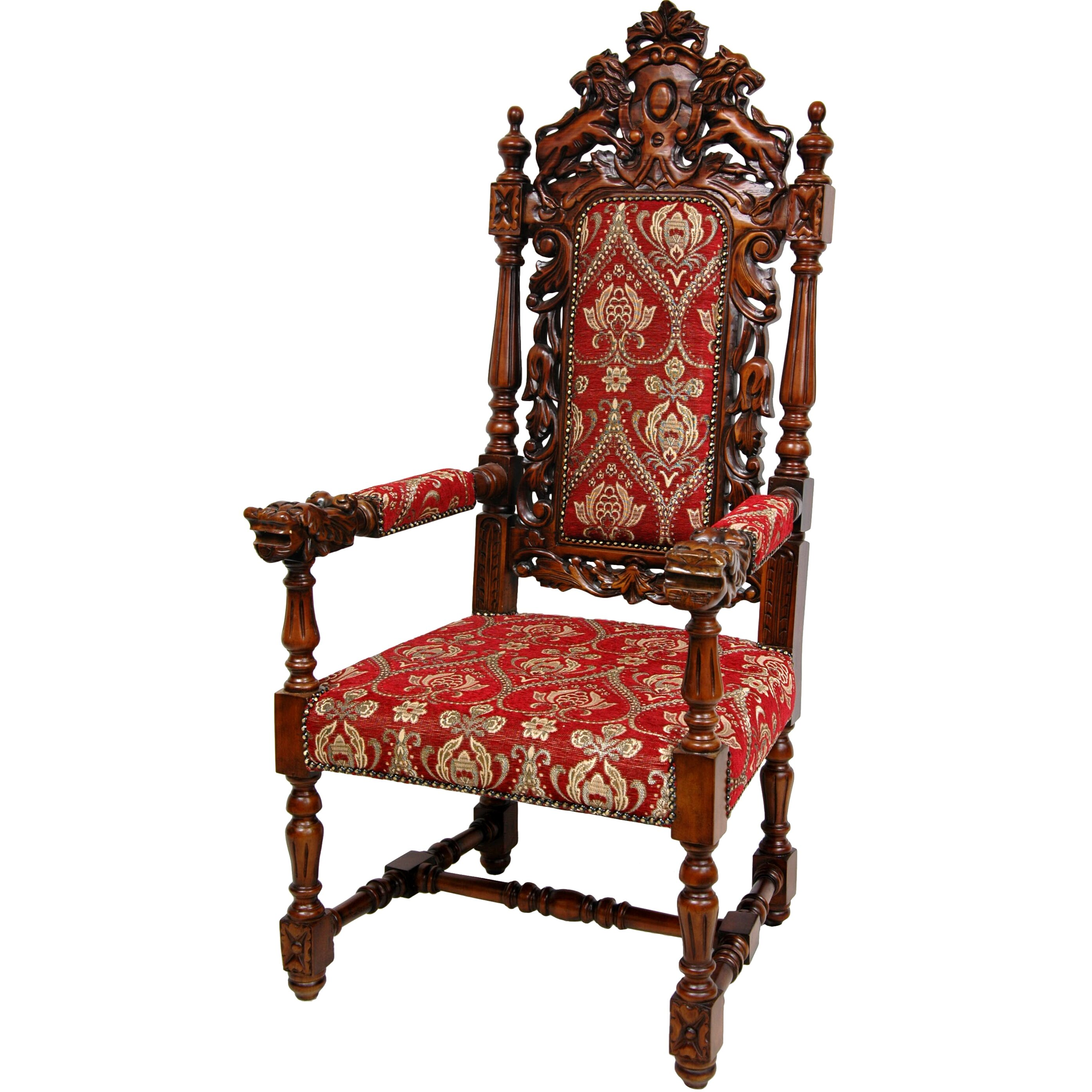 Oriental furniture queen anne parlor fabric arm chair for Queen anne furniture