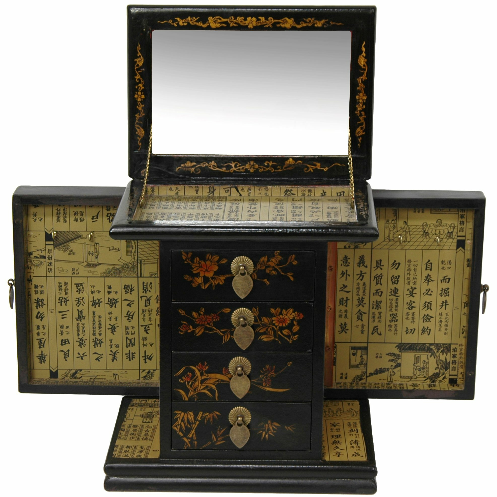 Oriental furniture large standing mirror jewelry box for Mirror jewelry box