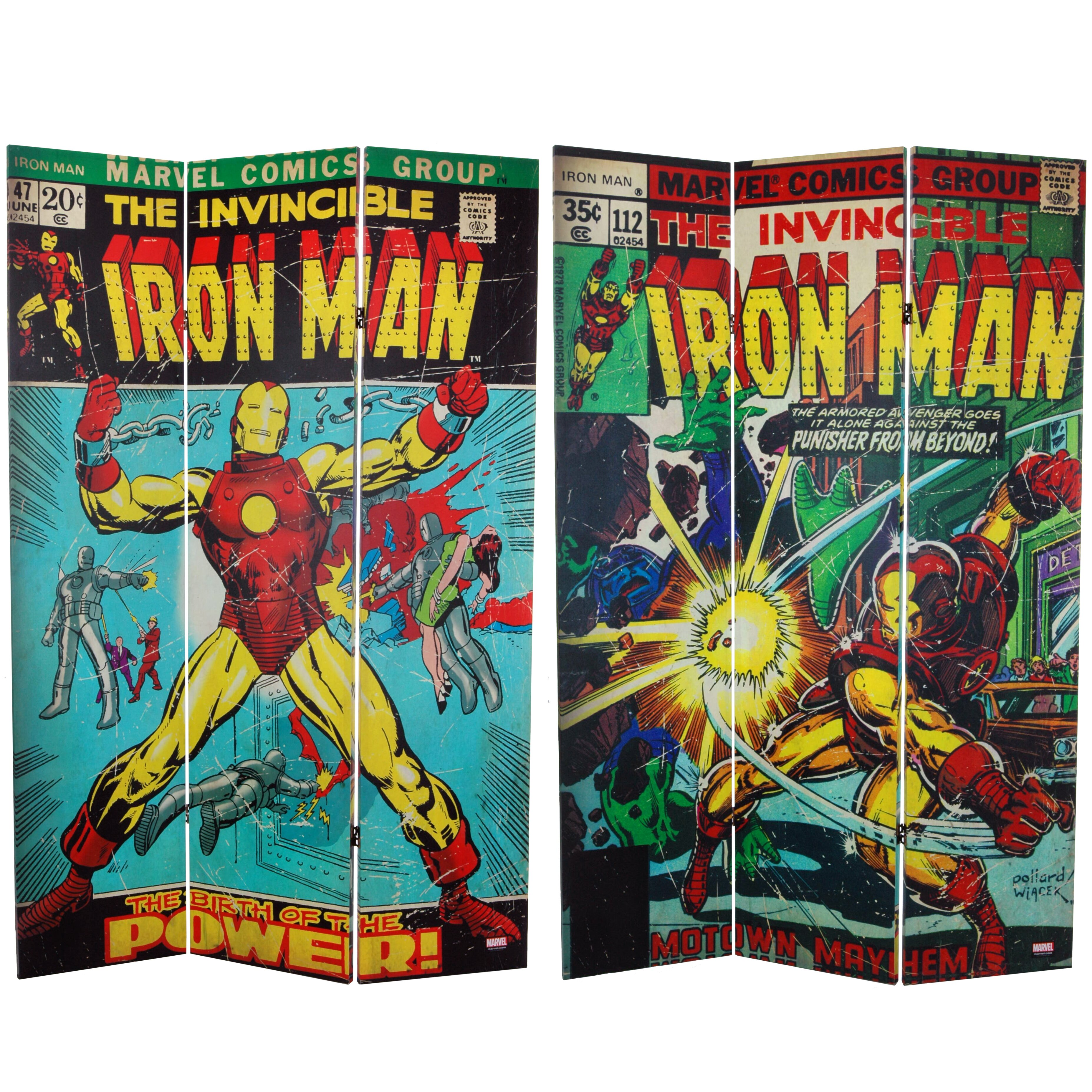 Oriental Furniture 71 X Tall Double Sided The Invincible Iron Man 3 Panel Room Divider