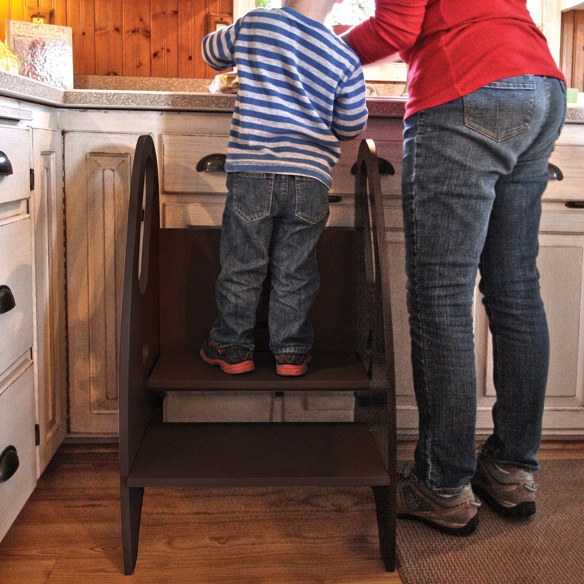Little Partners 2 Step Wood Kids Growing Step Stool With