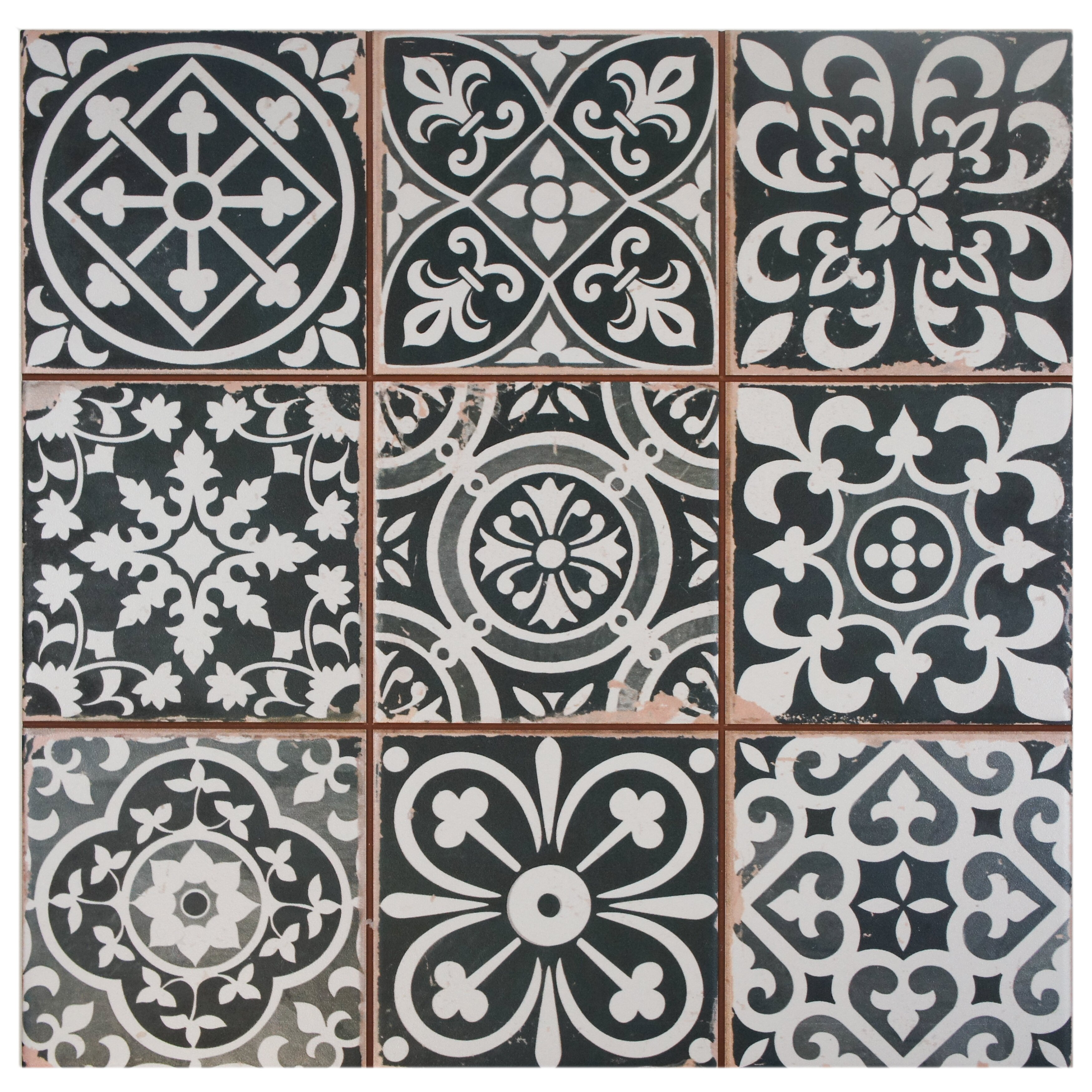 elitetile faventie nero 13 x 13 ceramic field tile in