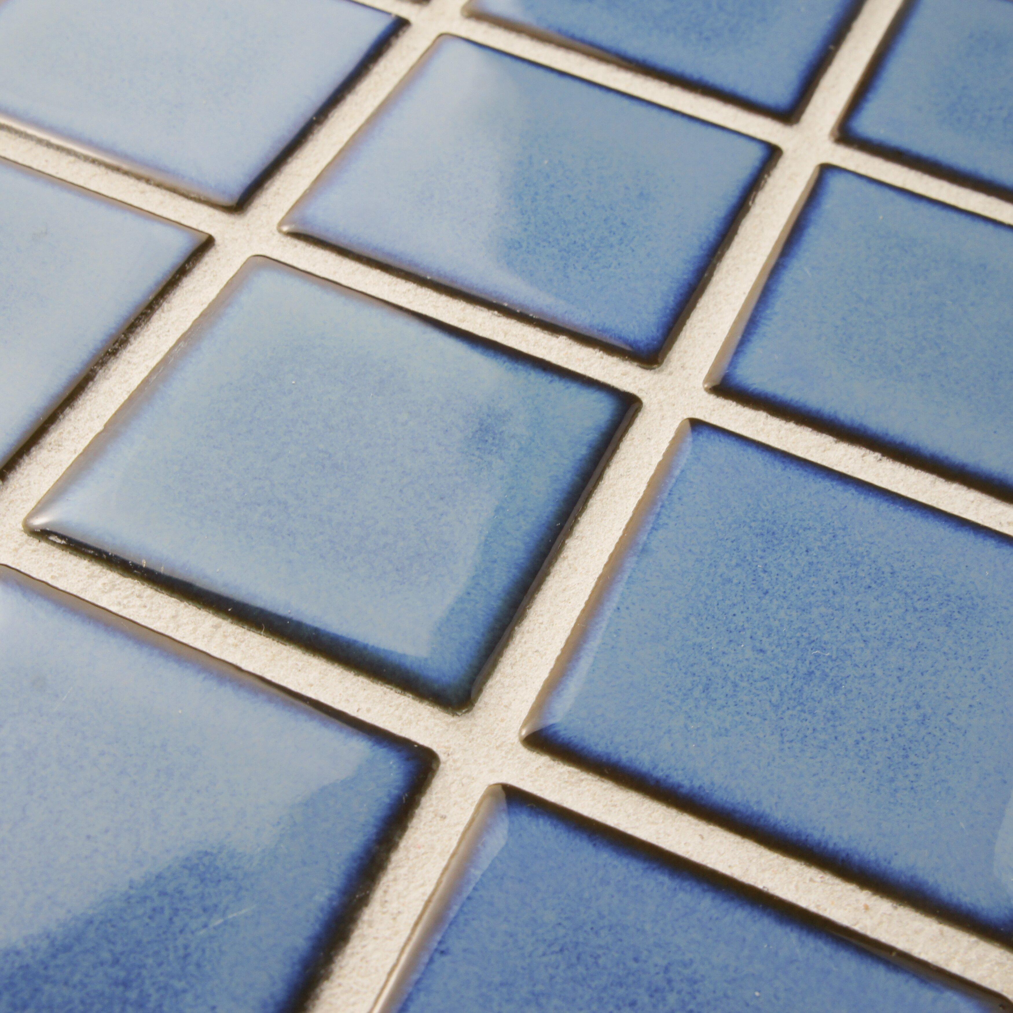 Elitetile arthur 2 x 2 porcelain mosaic tile in spring for 12 x 12 blue ceramic floor tile