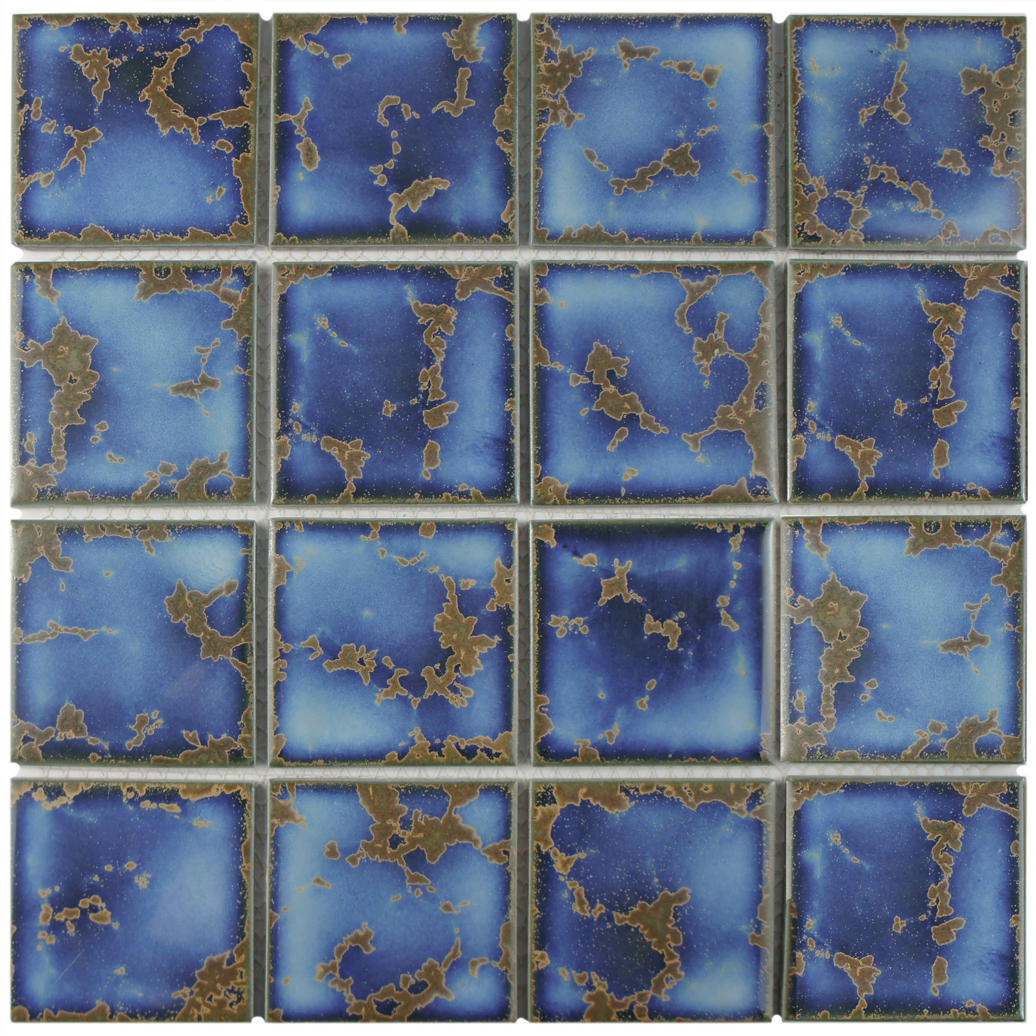 Elitetile canal 3 x 3 mega square porcelain mosaic tile for 12 x 12 blue ceramic floor tile