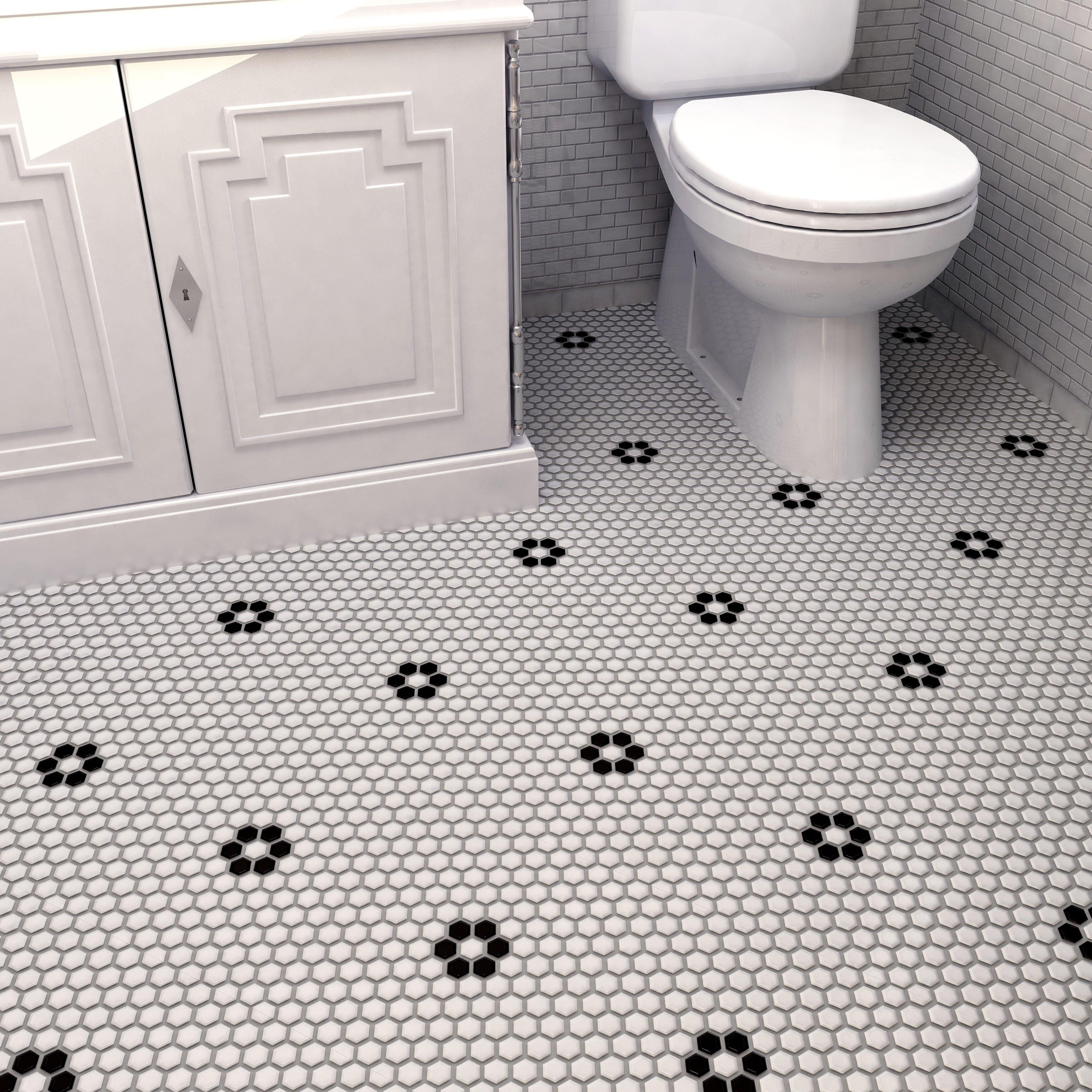 Elitetile Retro 0 875 Quot X 0 875 Quot Hex Porcelain Mosaic Tile