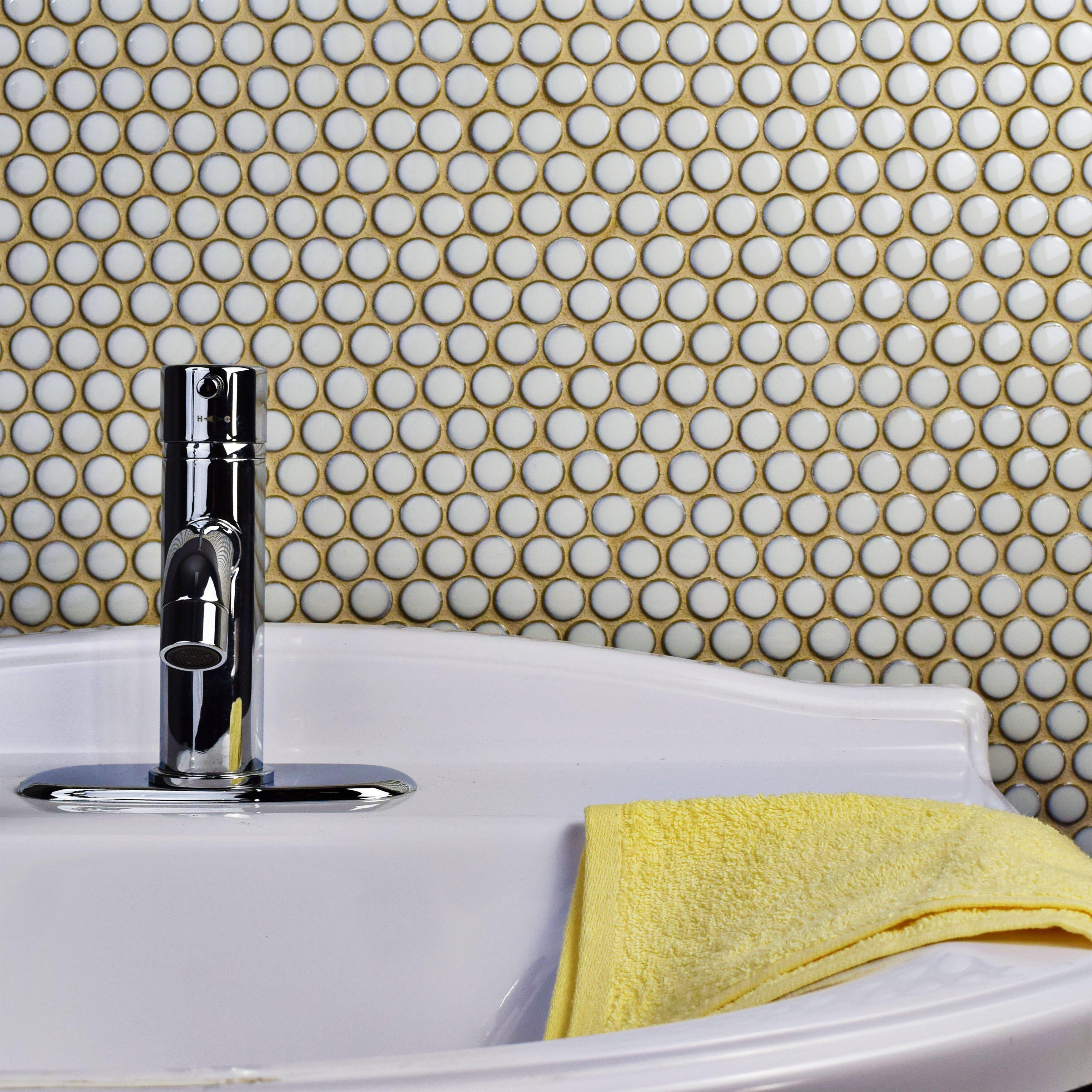 Elitetile Penny 0 8 Quot X 0 8 Quot Porcelain Mosaic Tile In