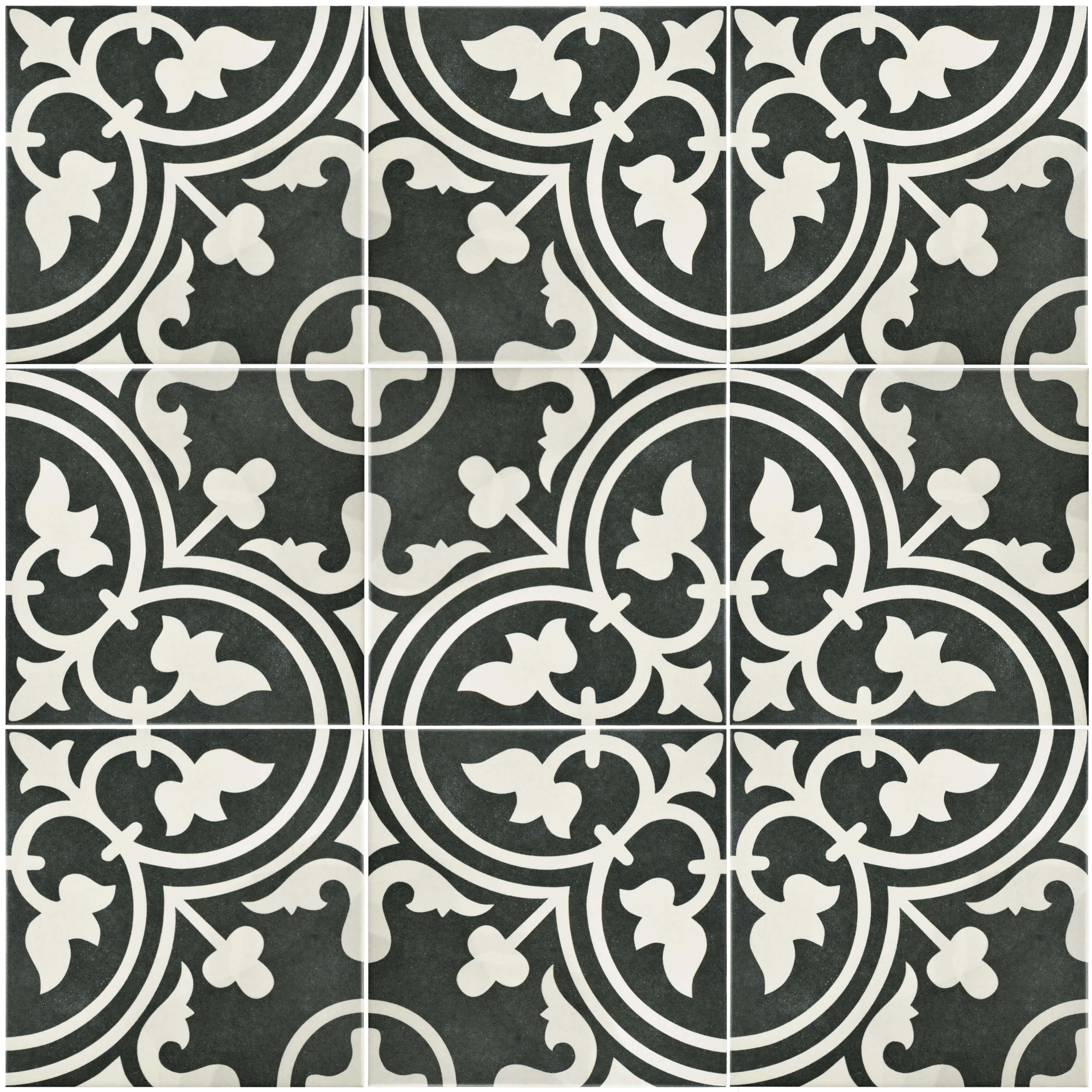 "EliteTile Artea 9.5"" x 9.5"" Porcelain Field Tile in Black ..."