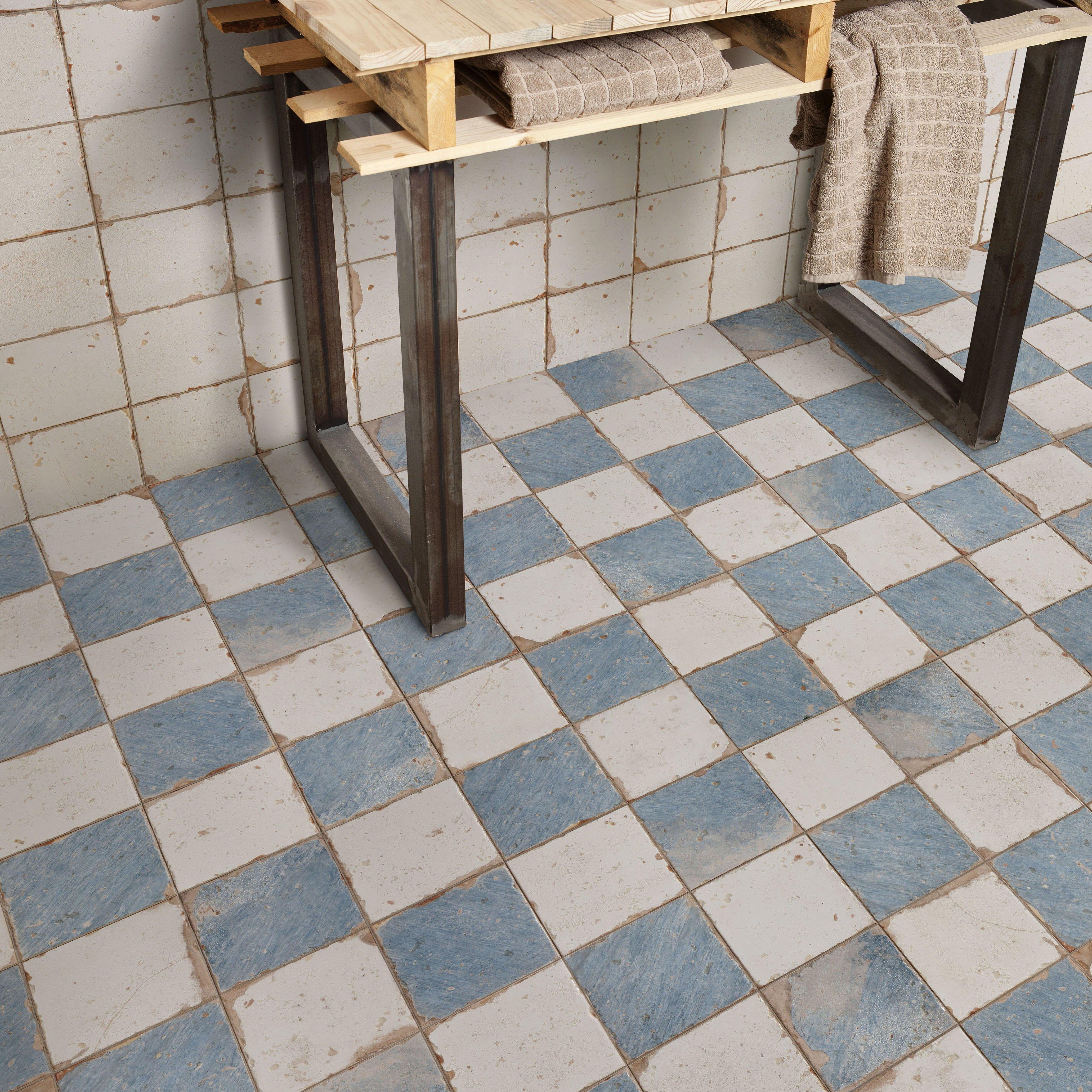 Elitetile artisanal 13 x 13 ceramic field tile in damero for 13 inch ceramic floor tile
