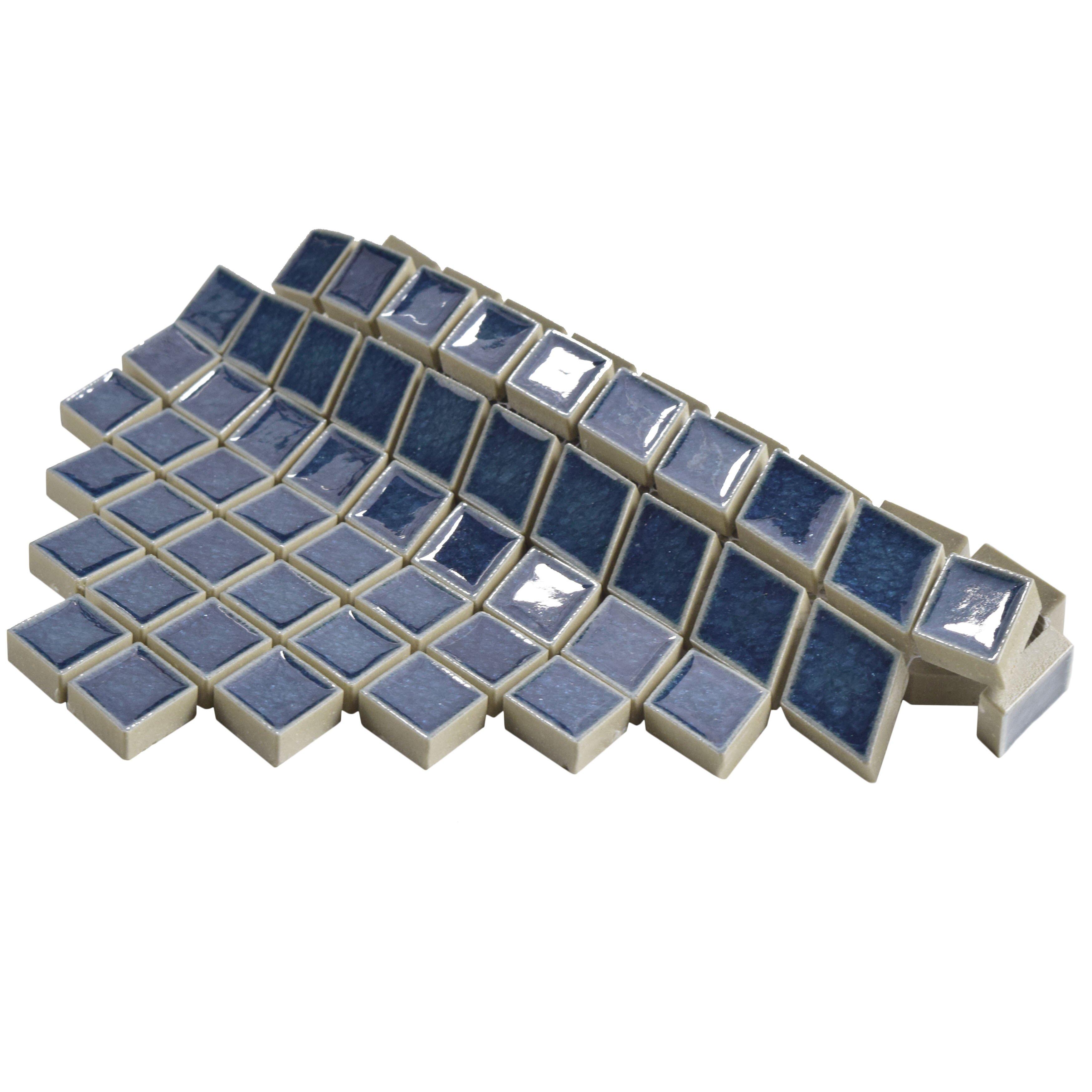 Elitetile Interval 1 X 2 Ceramic Mosaic Wall Tile In Diamond Azure Blue Wayfair