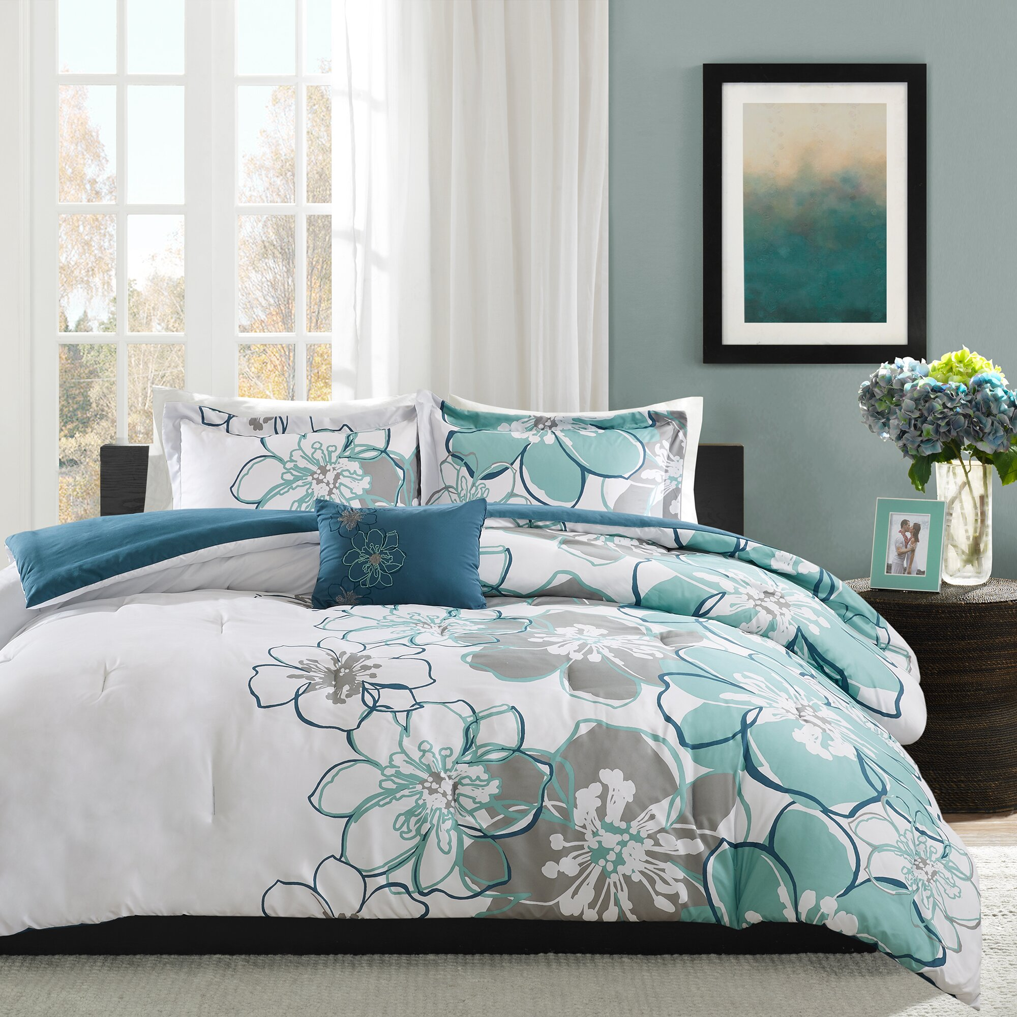Mi zone allison comforter set reviews wayfair for Housse de couette turquoise