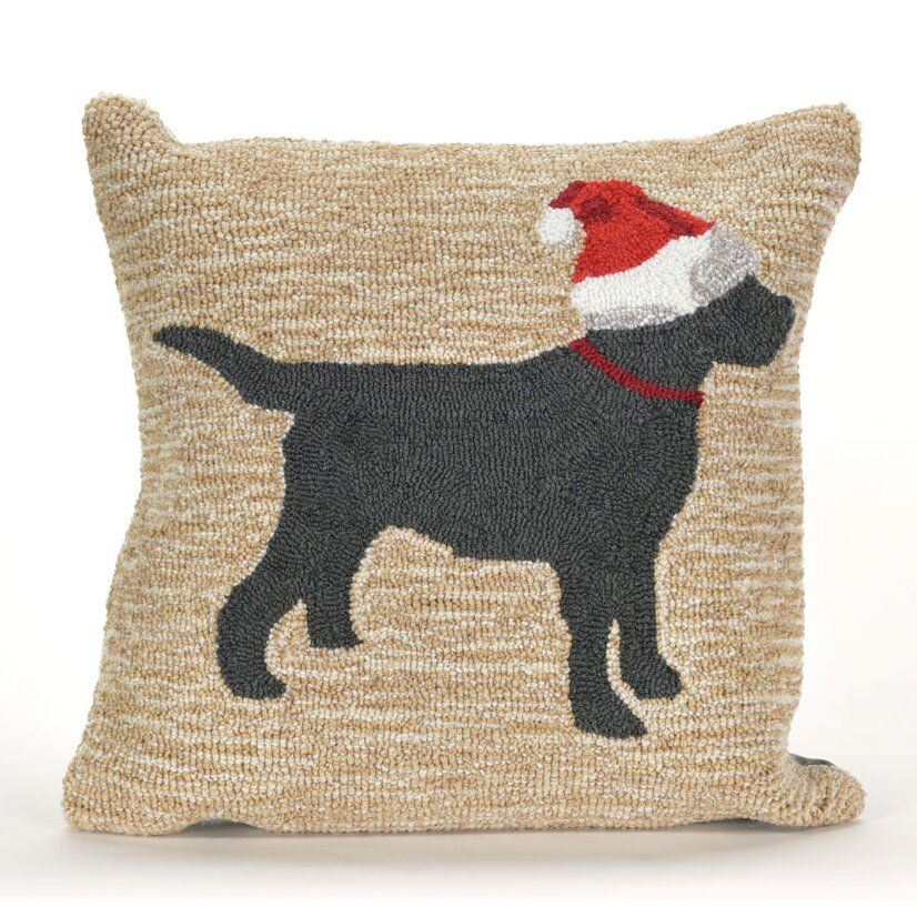 Red Dog Throw Pillows : Liora Manne Frontporch Christmas Dog Indoor/Outdoor Throw Pillow Wayfair