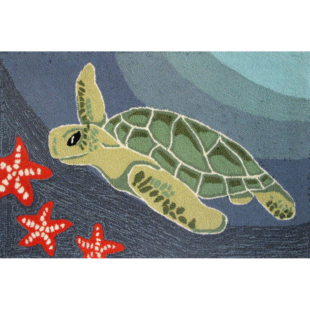 Liora Manne Frontporch Blue Ocean Sea Turtle Area Rug