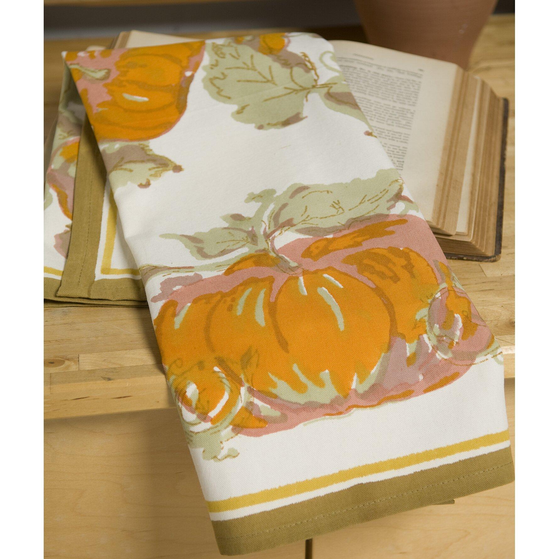 couleur nature pumpkin orange yellow tea towel reviews. Black Bedroom Furniture Sets. Home Design Ideas