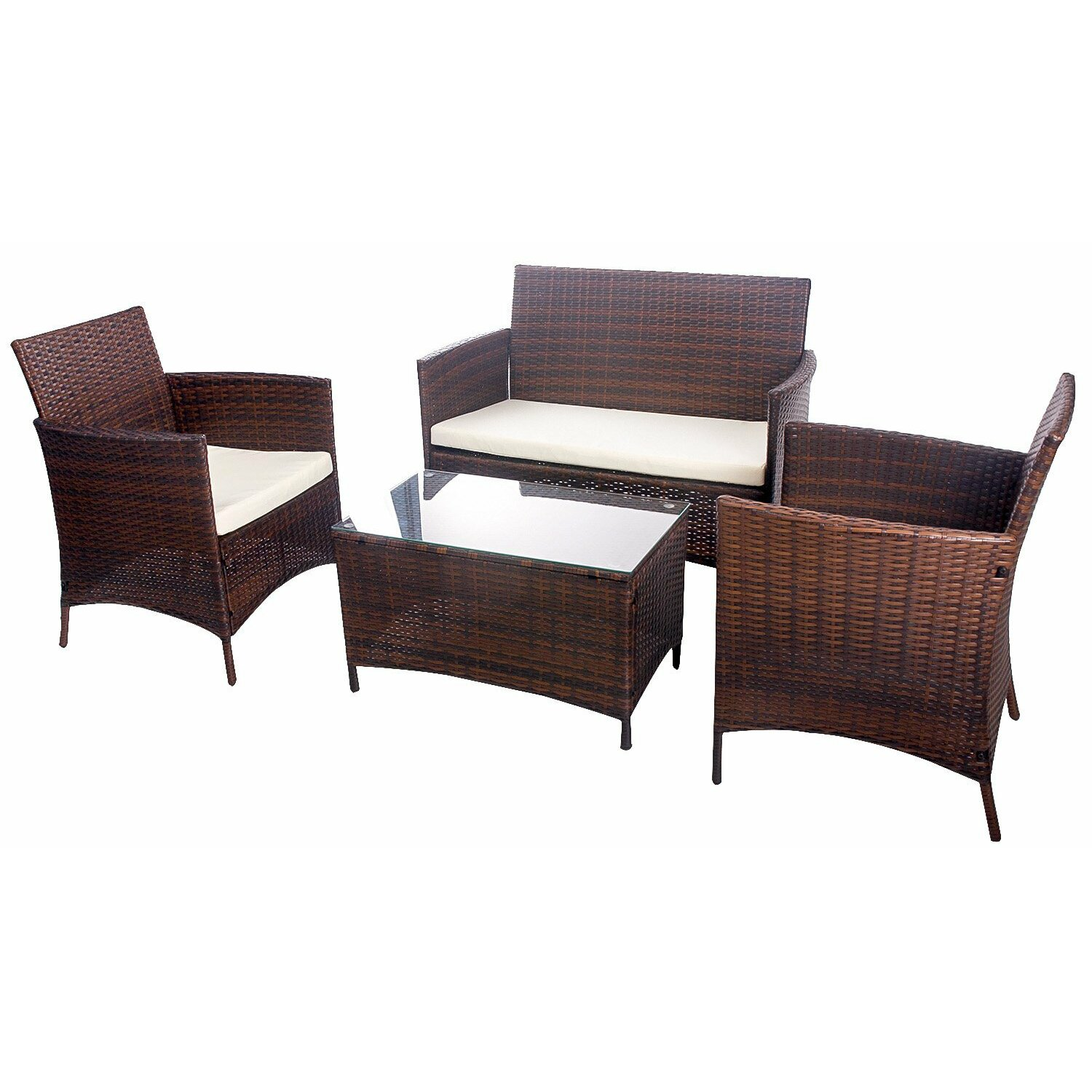 Merax 4 piece deep seating group with cushion reviews for Garden furniture cushions