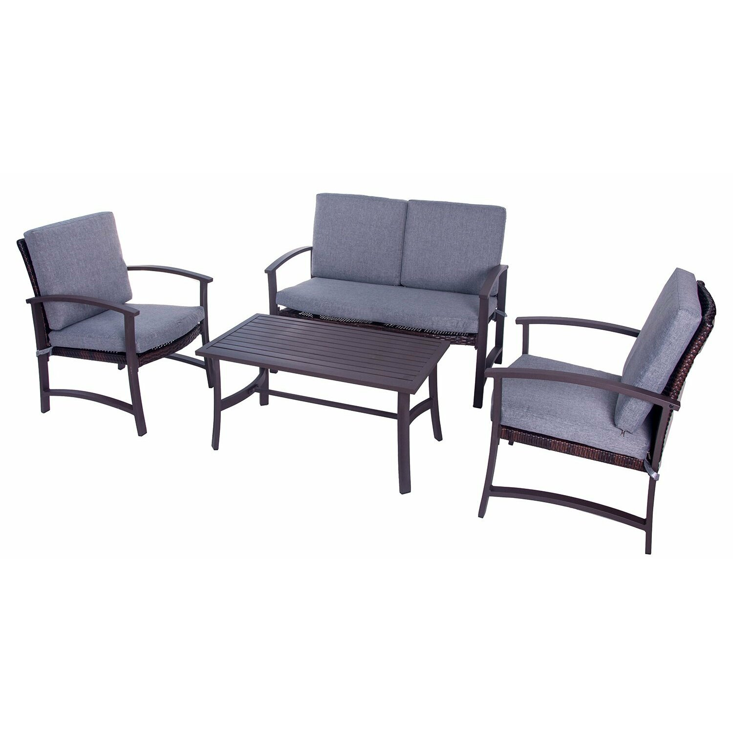 Merax 4 piece deep seating group with cushion wayfair for Outdoor furniture 4 piece
