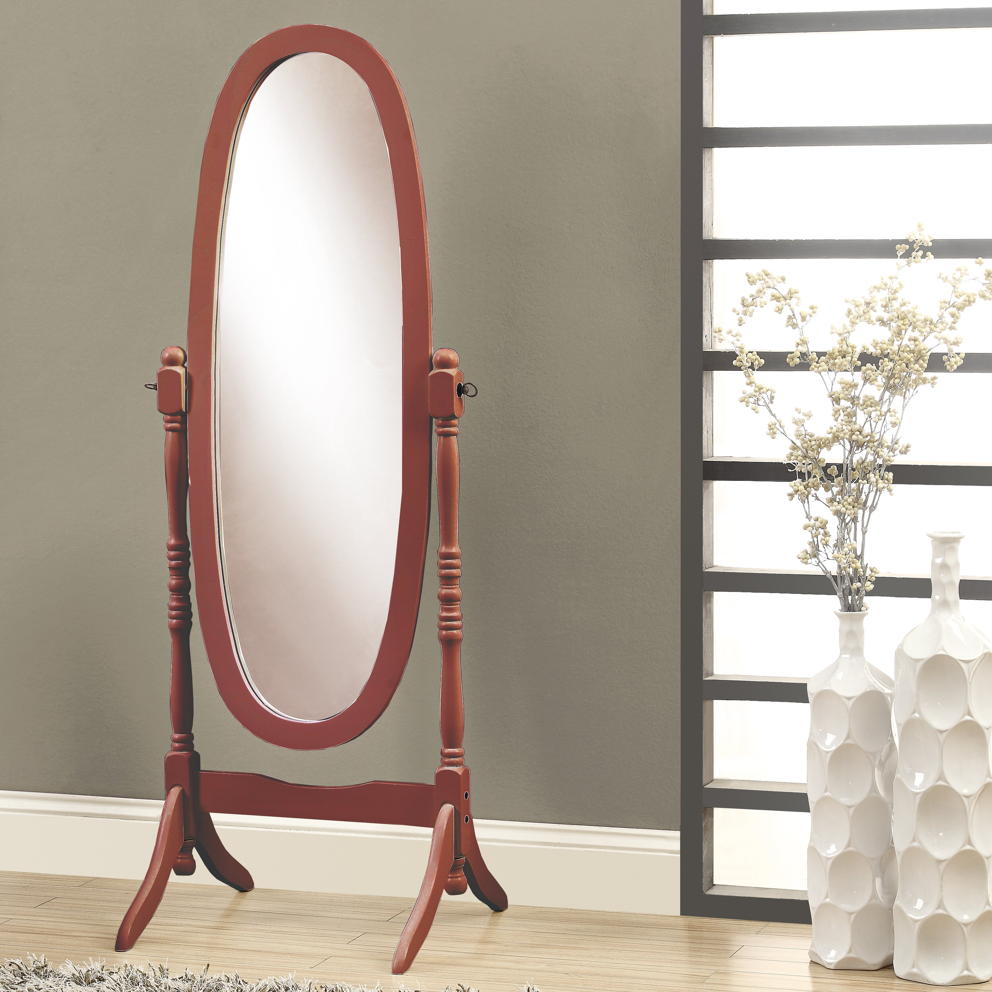 Wooden Mirror Stand Designs : Monarch specialties inc oval wood frame standing mirror