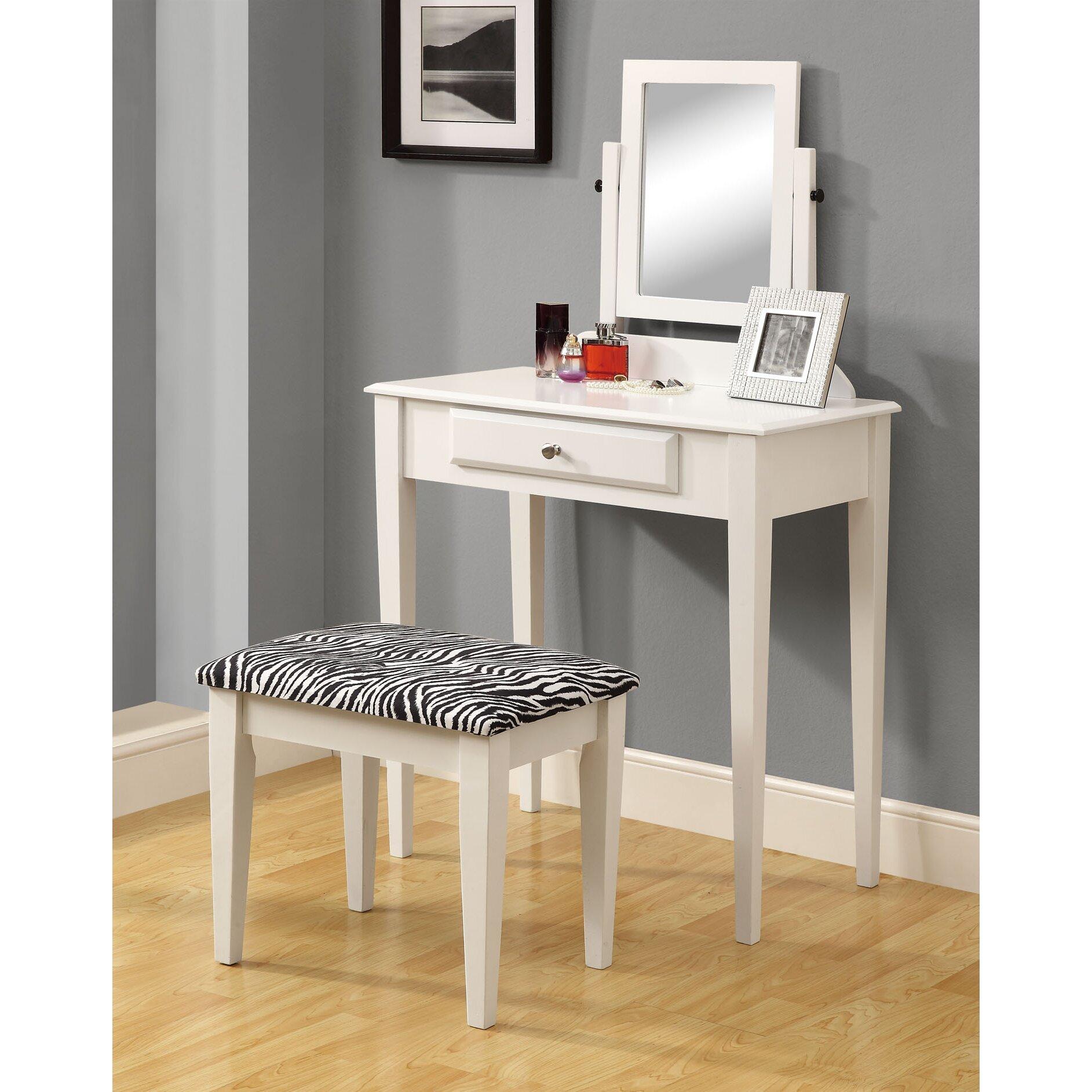 Monarch specialties inc vanity set with mirror zebra for Zebra kitchen set