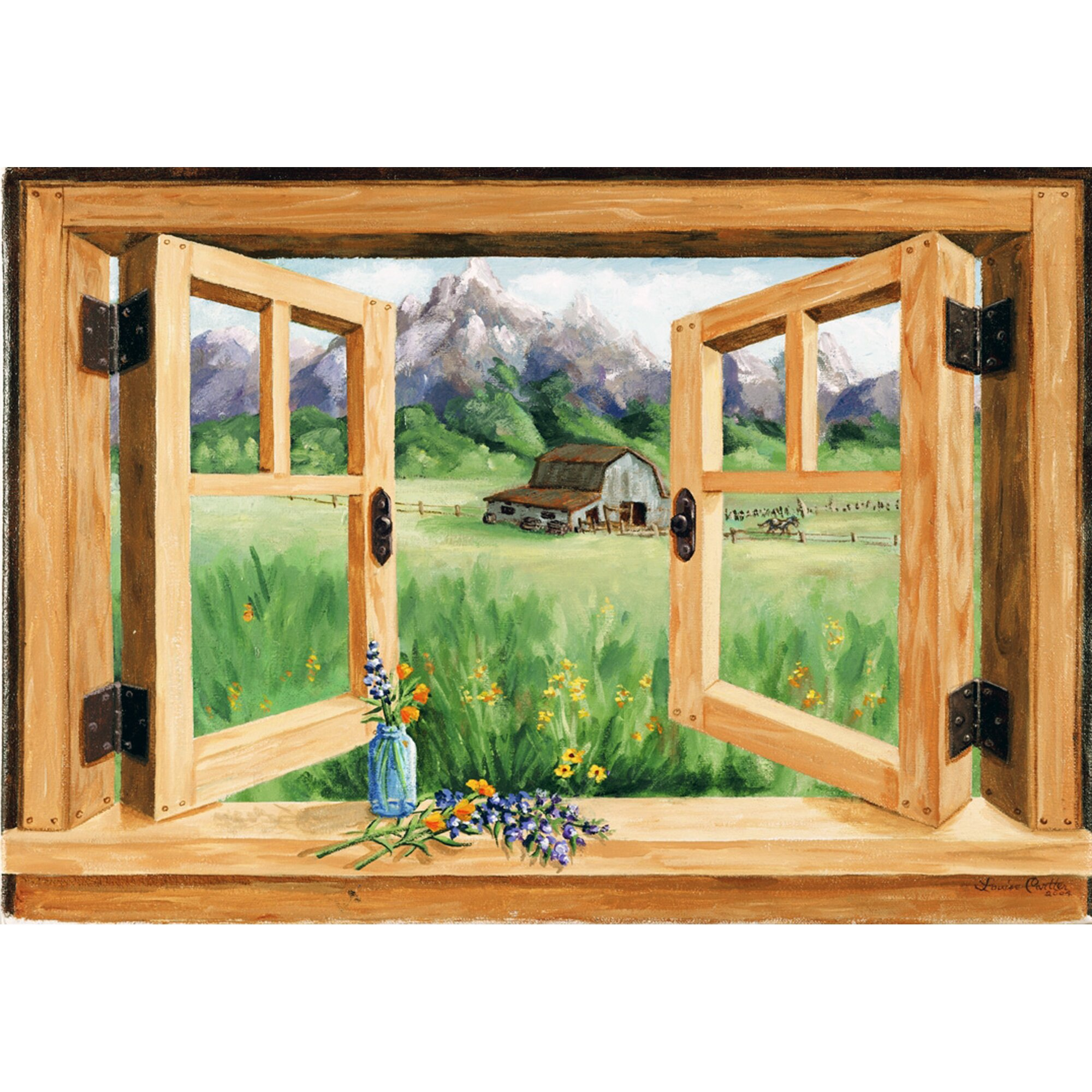 Stupell Industries Barn Mounting Faux Window Scene Wall