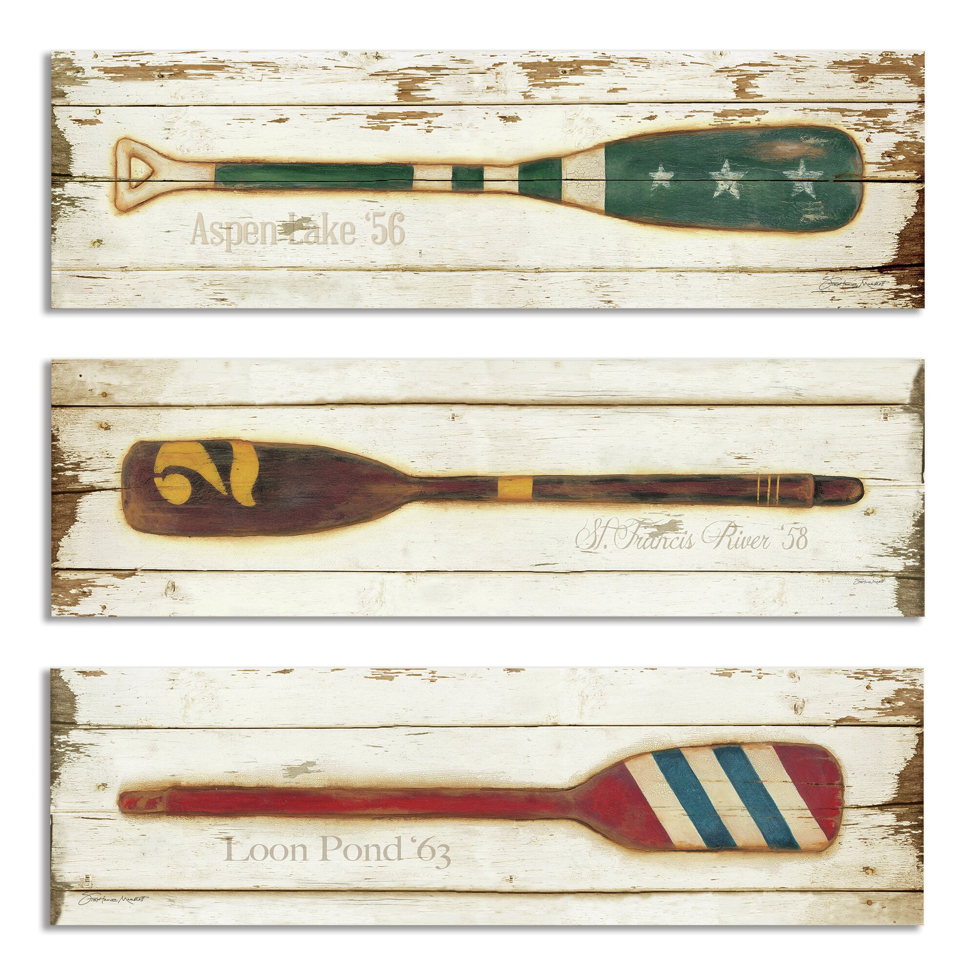 stupell industries vintage prized oars 3 piece wall decor