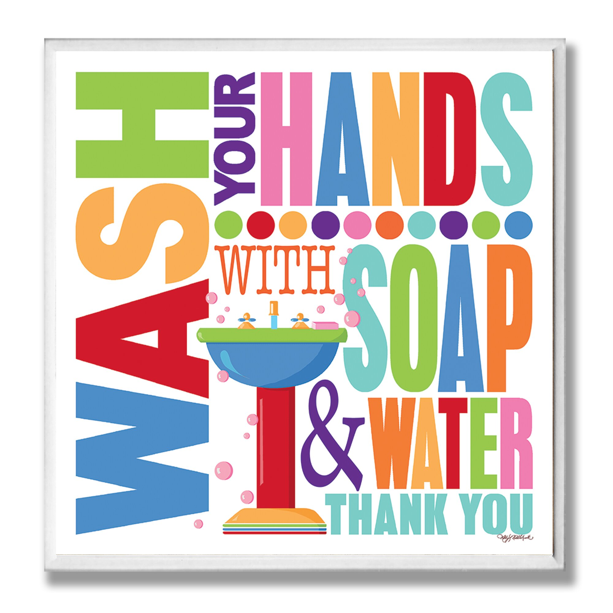 Stupell Industries Wash with Soap and Water Rainbow Typography. Bathroom Plaque
