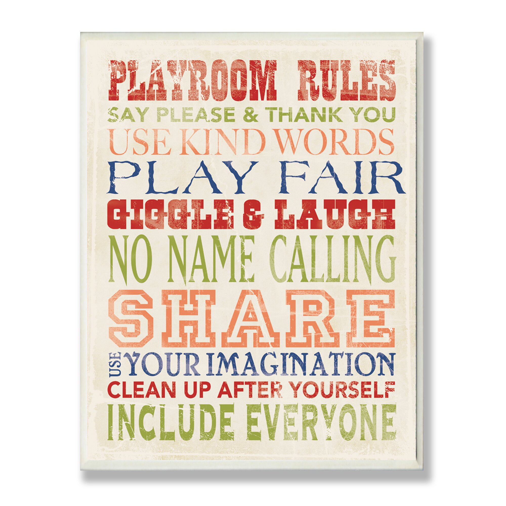 Stupell Industries The Kids Room Playroom Rules Typography