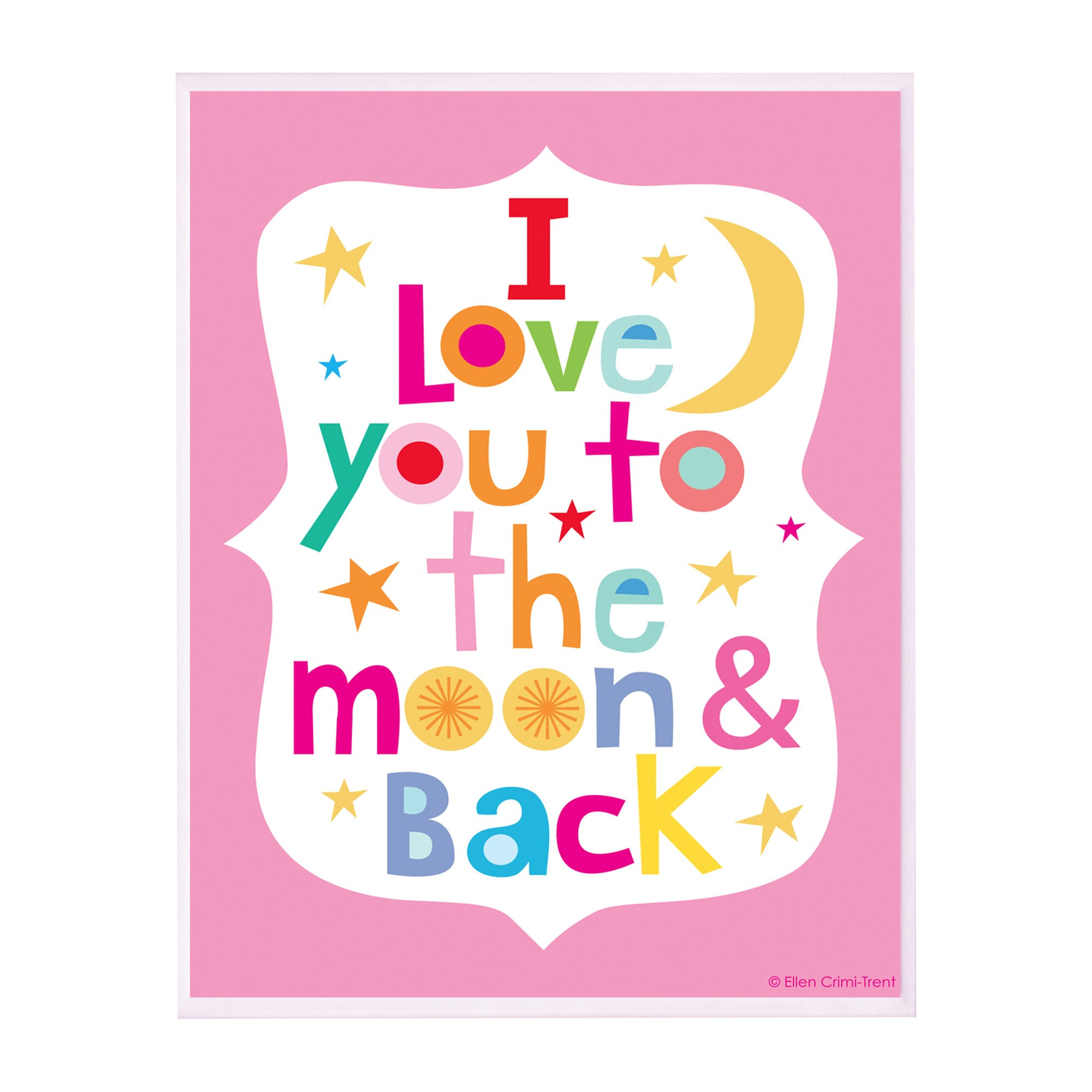 I Love You To The Moon And Back: Stupell Industries The Kids Room Pink I Love You To The