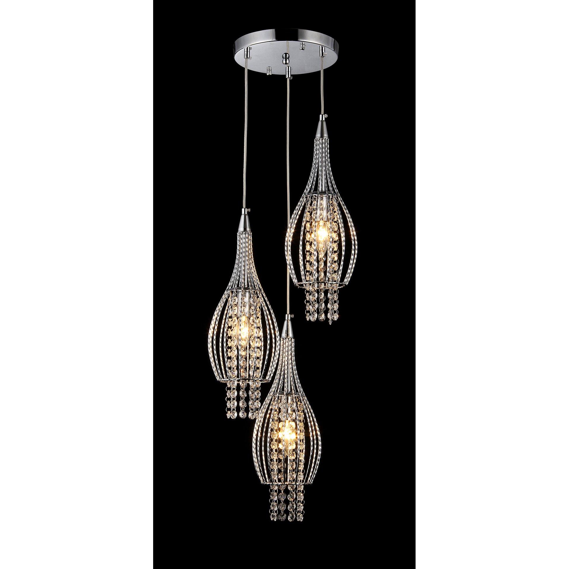 Warehouse Of Tiffany Xuan 3 Light Crystal Chandelier