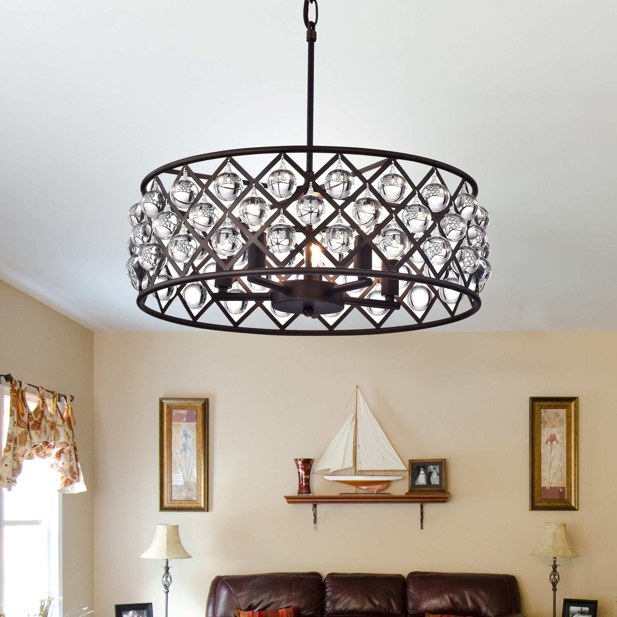 Warehouse Of Tiffany 5 Light Drum Chandelier Wayfair