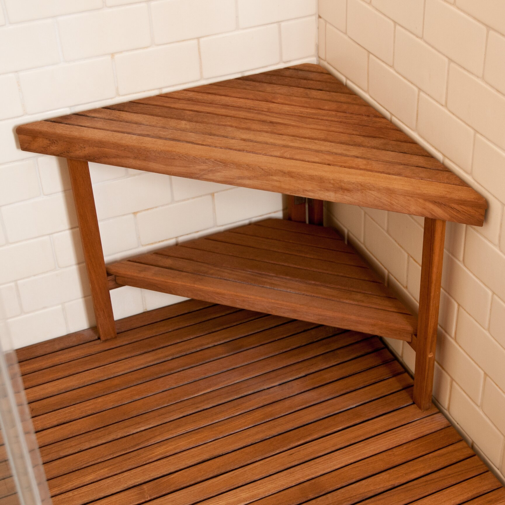 Teakworks4u deluxe teak corner shower bench with optional shelf reviews wayfair Bench with shelf