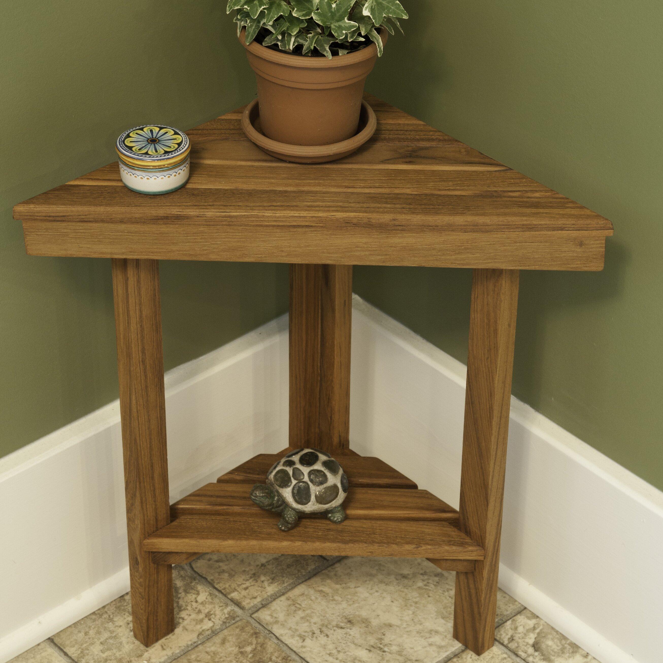 Teakworks4u Teak Mini Corner Shower Bench With Shelf Reviews Wayfair