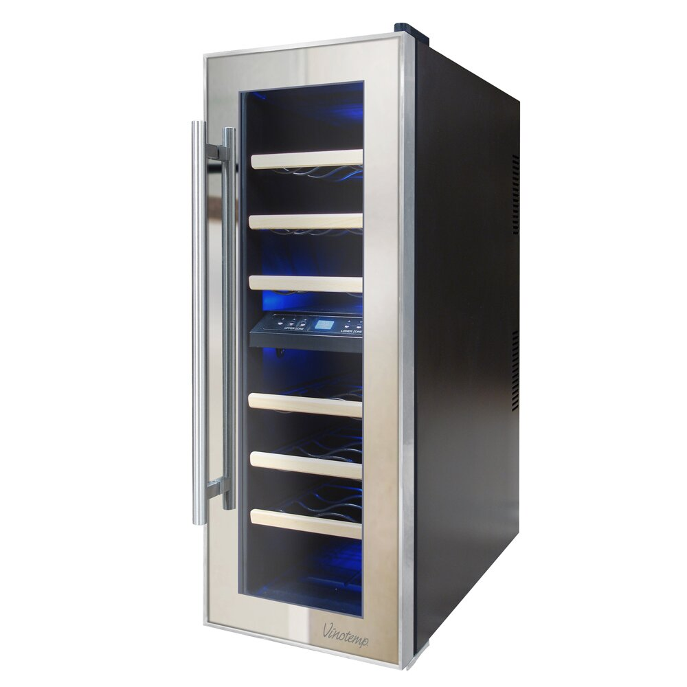 Vinotemp Mirrored 21 Bottle Dual Zone Freestanding Wine
