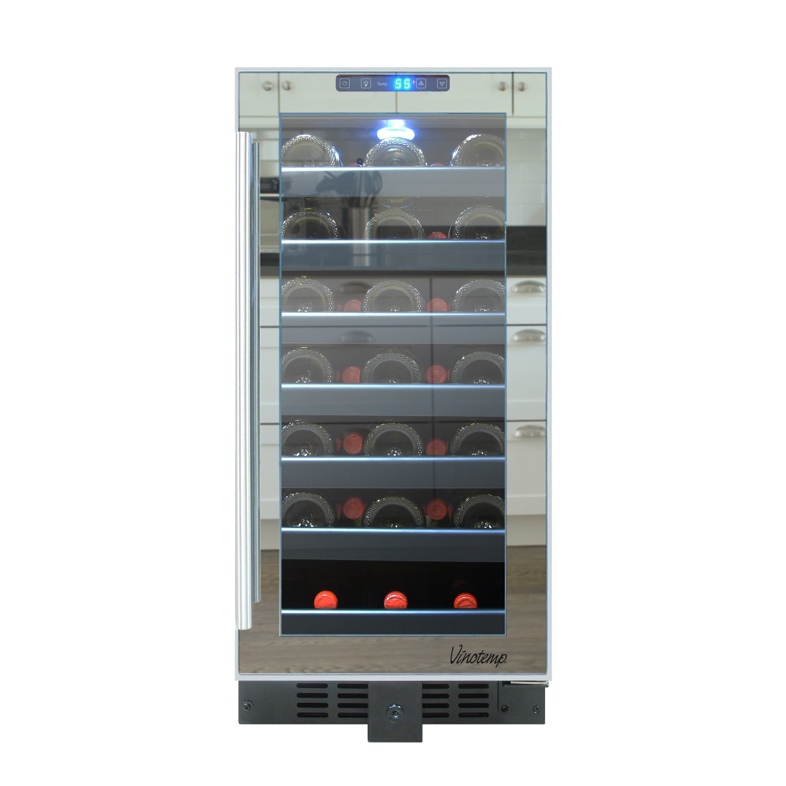 vinotemp 33 bottle single zone built in wine refrigerator reviews wayfair. Black Bedroom Furniture Sets. Home Design Ideas