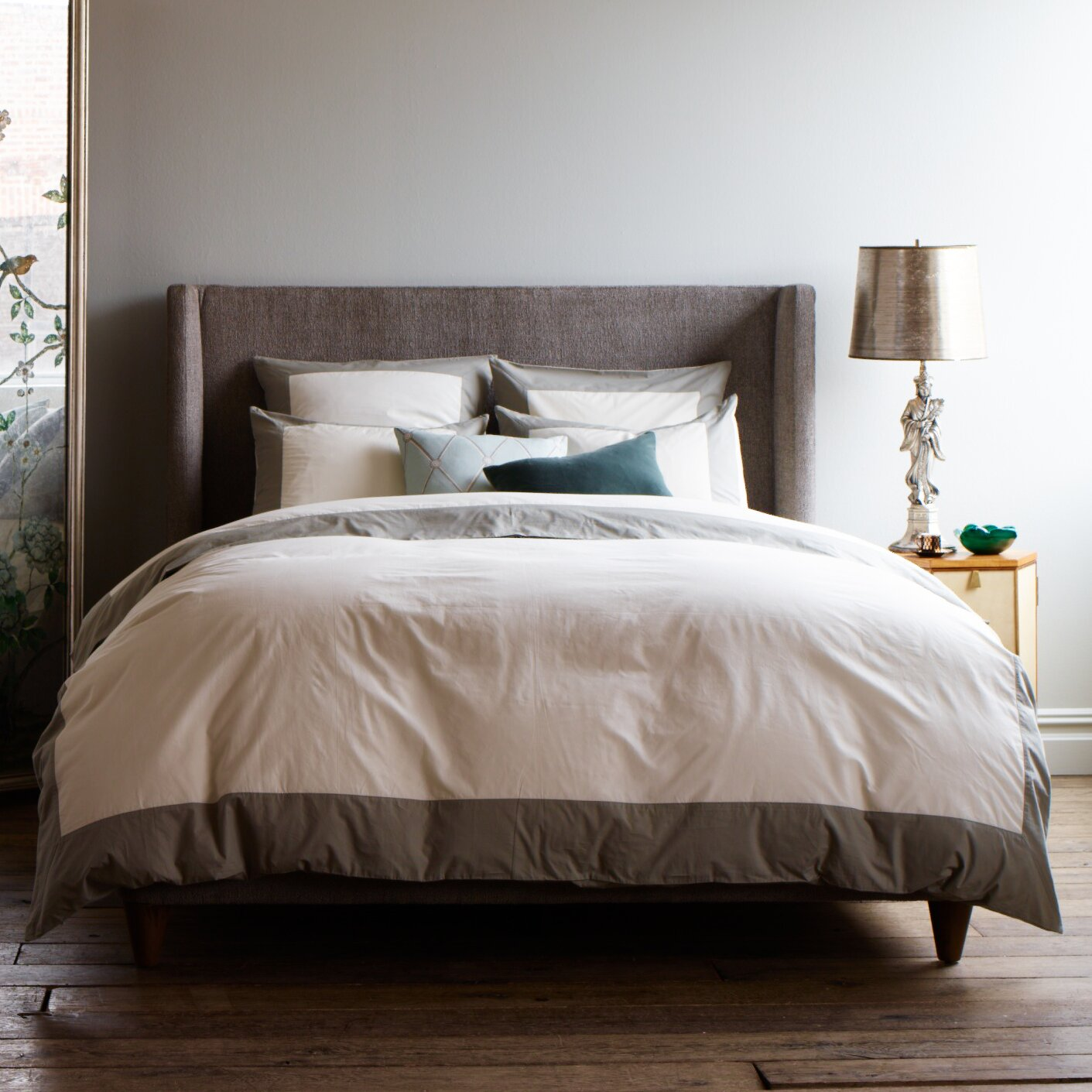 DwellStudio Modern Border Smoke Duvet Cover & Reviews ...