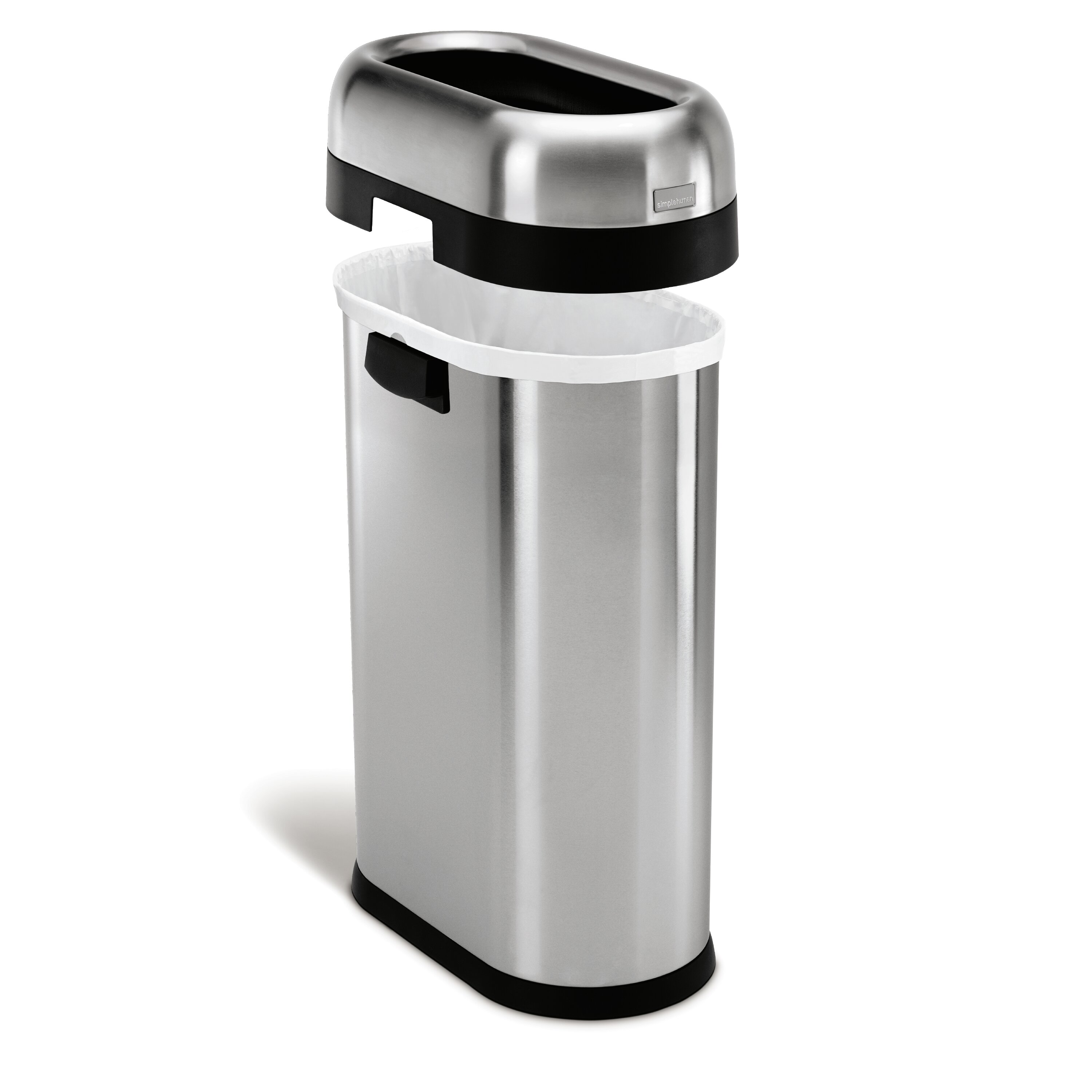 Simplehuman 50 l 13 gal slim open trash can commercial grade stainless steel reviews - Slim garbage cans for kitchen ...