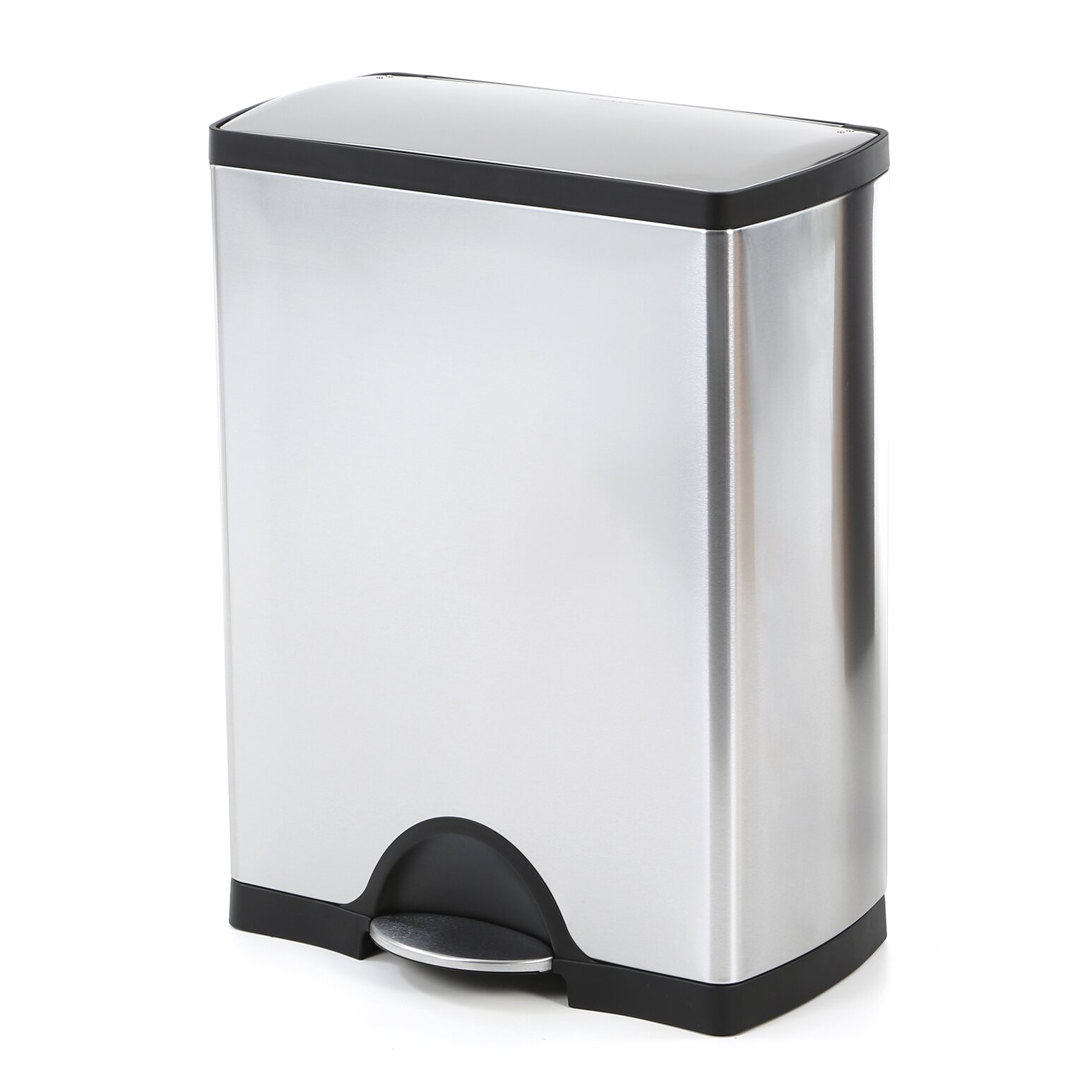 double trash can simplehuman 46l rectangular step trash can