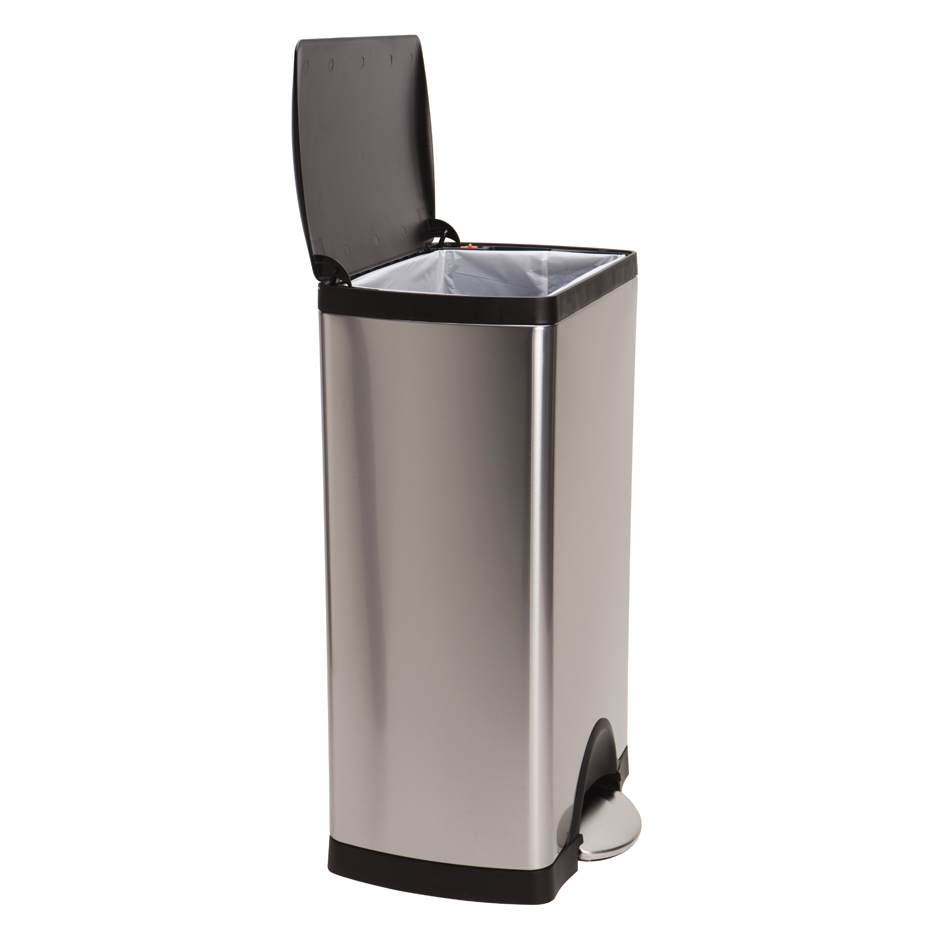 simplehuman 10 gal stainless steel trash can with liner reviews wayfair. Black Bedroom Furniture Sets. Home Design Ideas