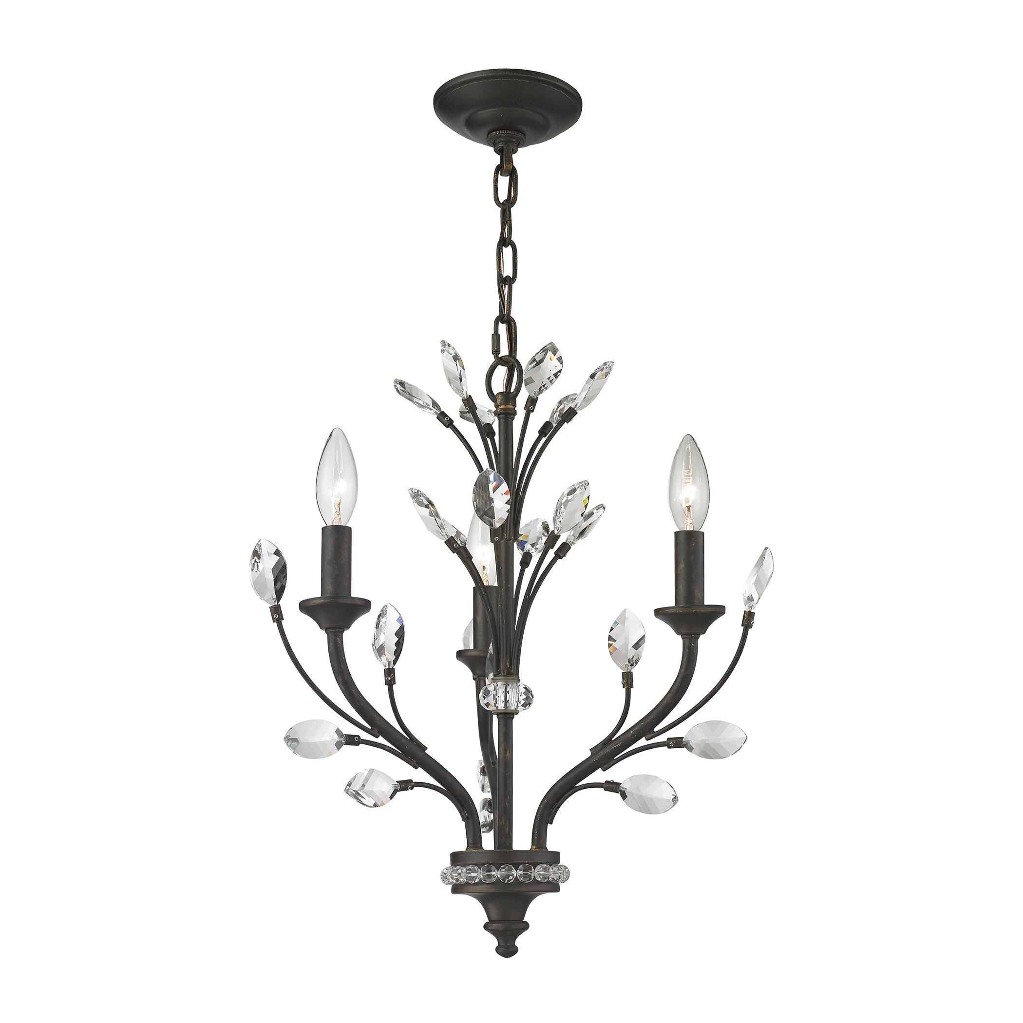elk lighting crystal branches 3 light crystal chandelier wayfair. Black Bedroom Furniture Sets. Home Design Ideas