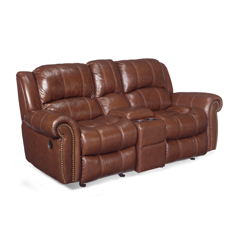Hooker Furniture Entertainment 2 Glider Leather Reclining Sofa Reviews Wayfair