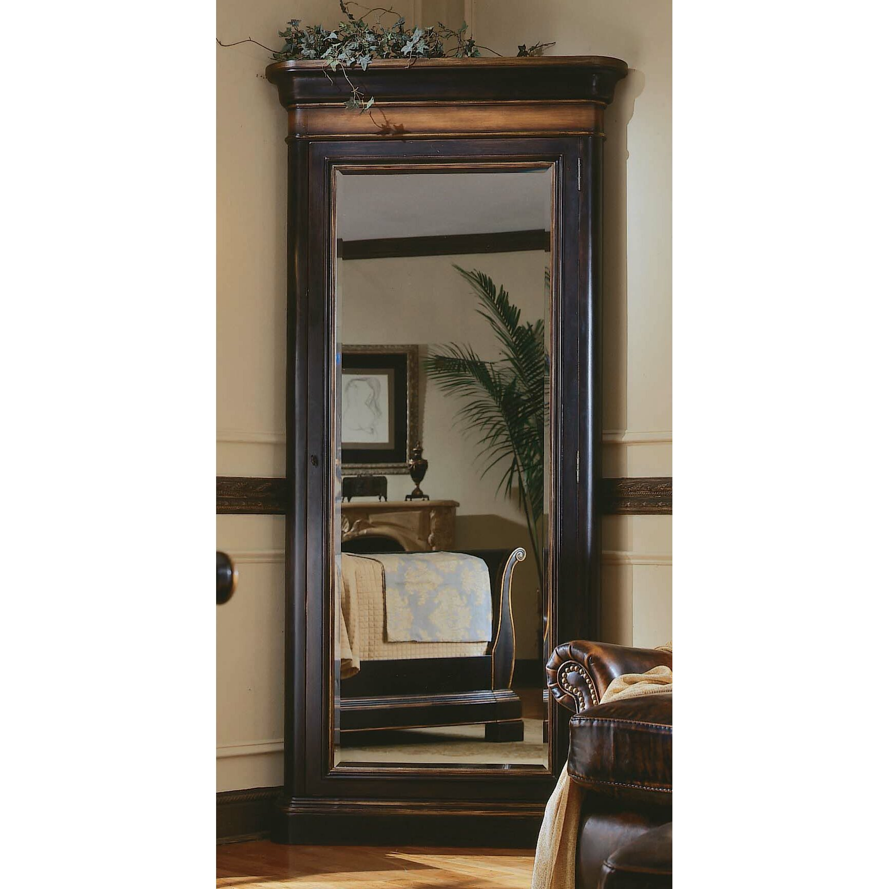 Hooker furniture preston ridge floor mirror with jewelry for Mirror jewelry cabinet