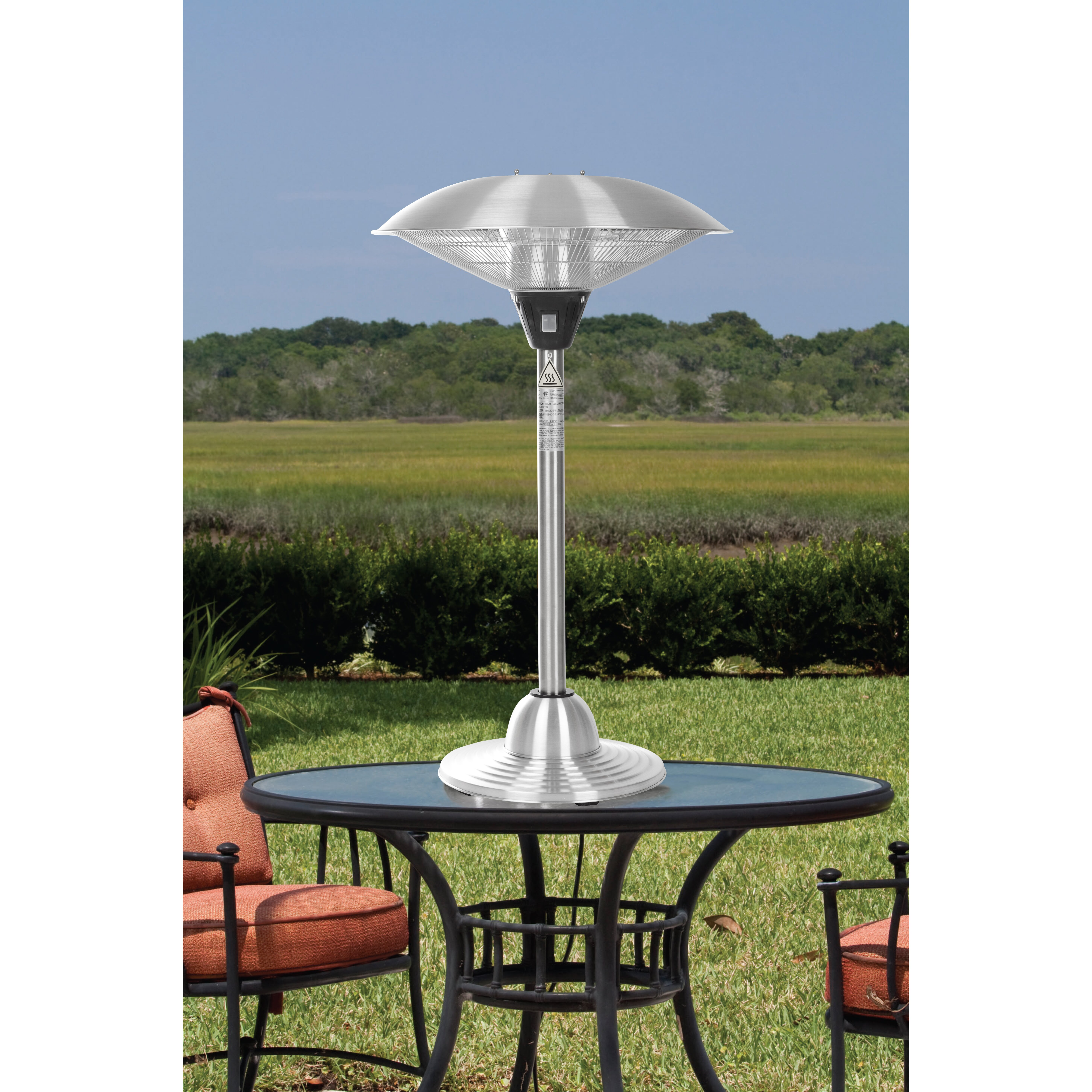 Fire sense stainless steel tabletop electric halogen patio for Tabletop patio heater reviews